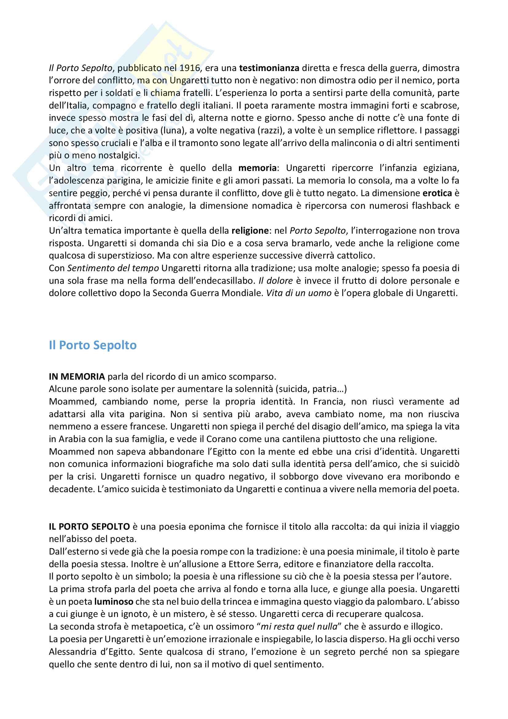 Riassunto esame letteratura italiana, prof. Verdino, libro consigliato Il Porto Sepolto di Ungaretti e Canti Anonimi di Rebora Pag. 2