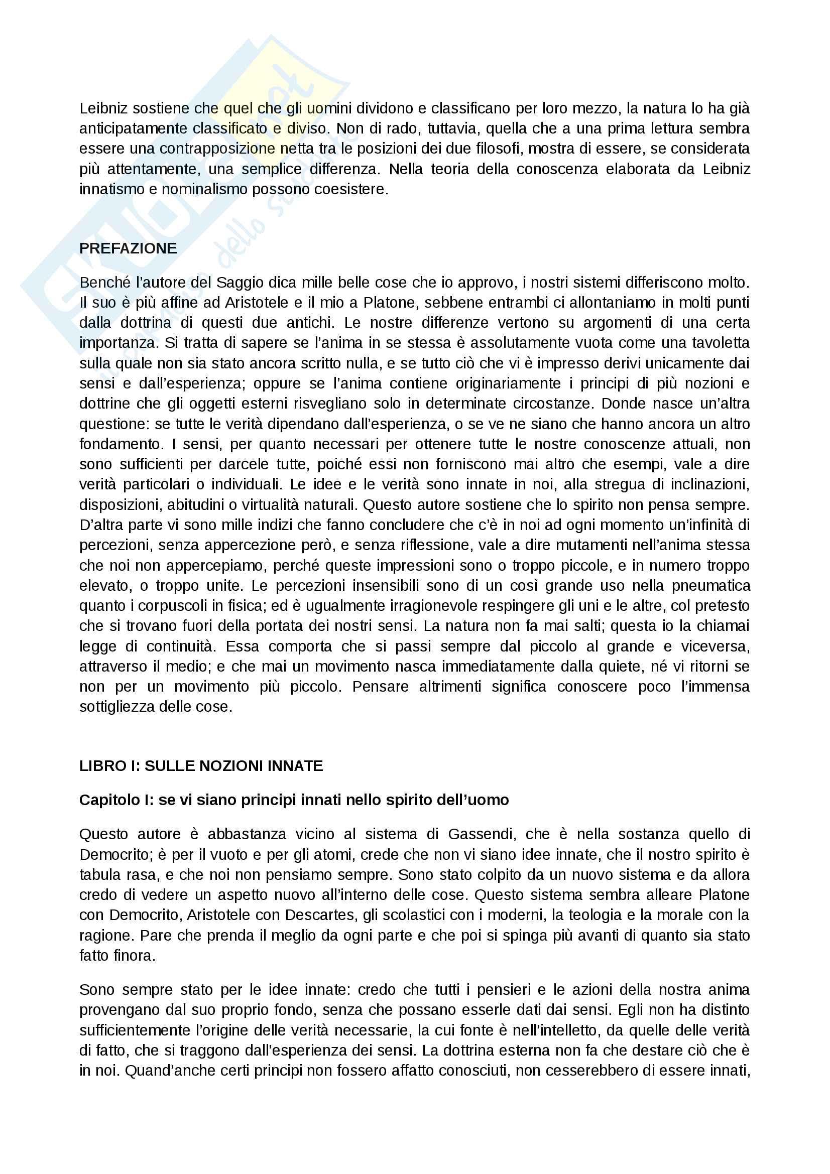 Nuovi Saggi Sull'Intelletto Umano di Leibniz - Riassunto Pag. 2