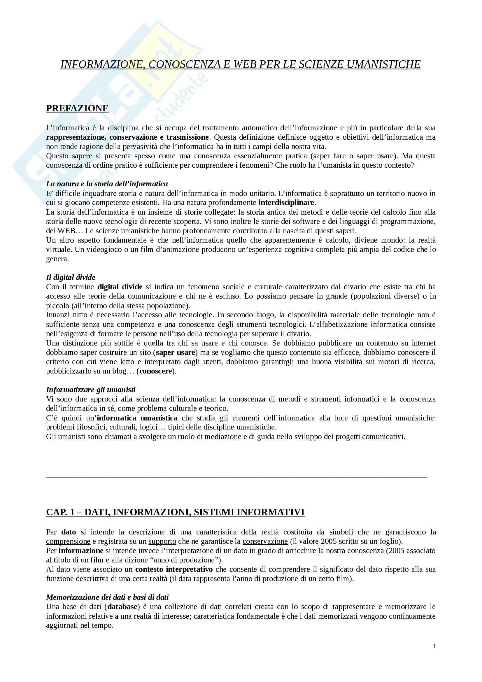 Riassunto esame Media digitali, docente Dondi, libro consigliato Informazione, conoscenza e Web per le scienze umanistiche, Castano, Ferrara, Montanelli