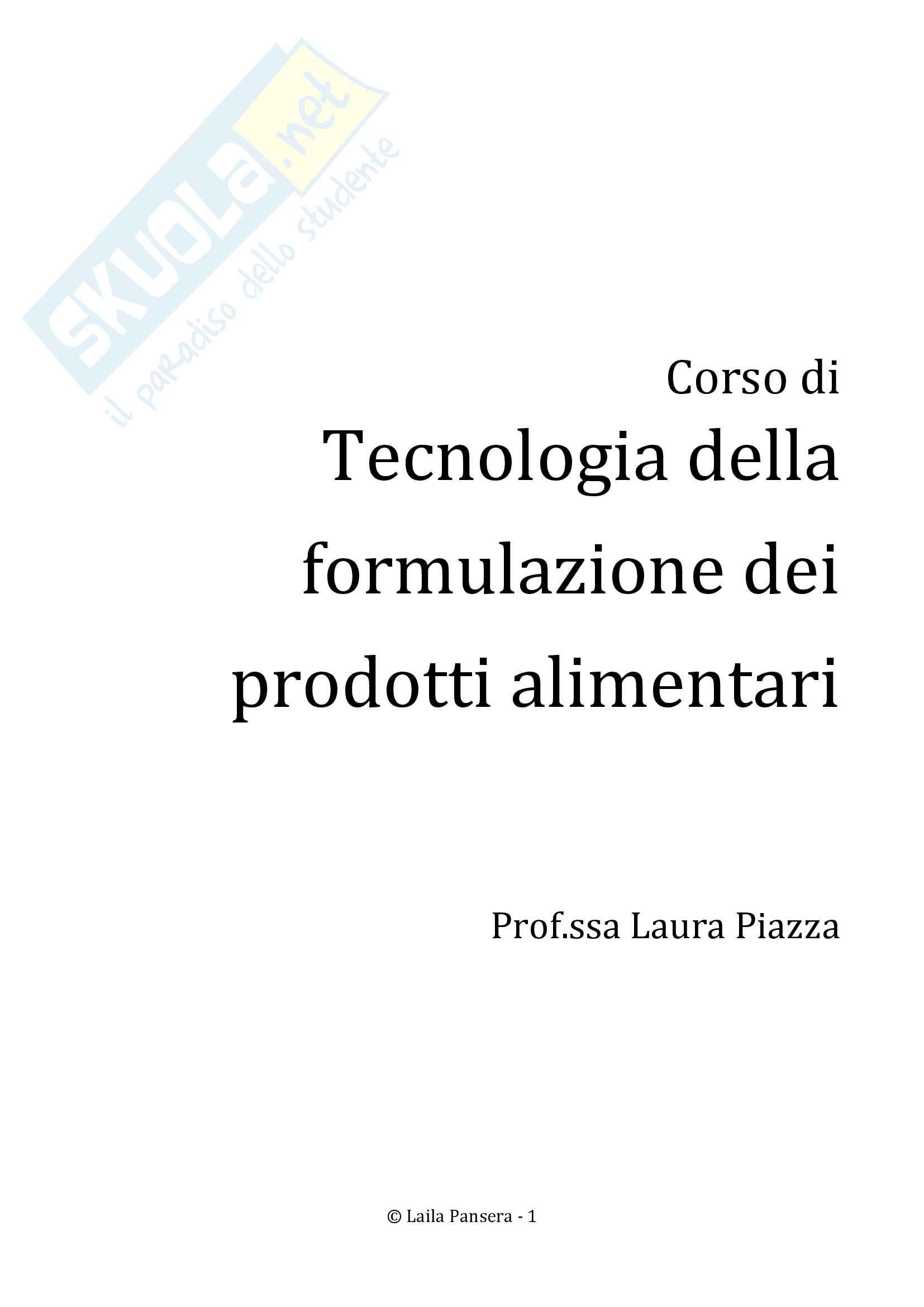 Tecnologia della formulazione dei prodotti alimentari