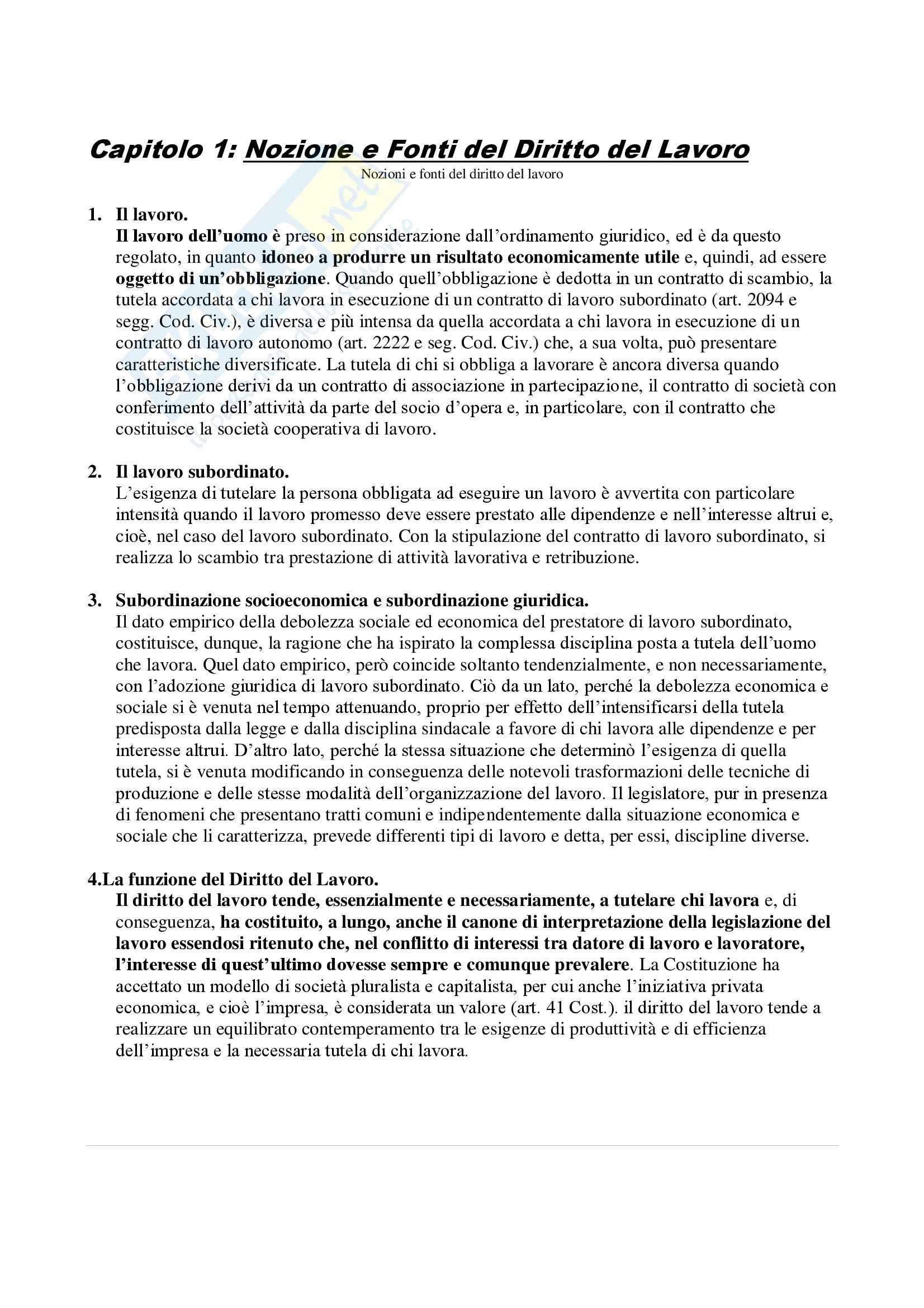 Riassunto esame Diritto del Lavoro, prof. Persiani Pag. 2