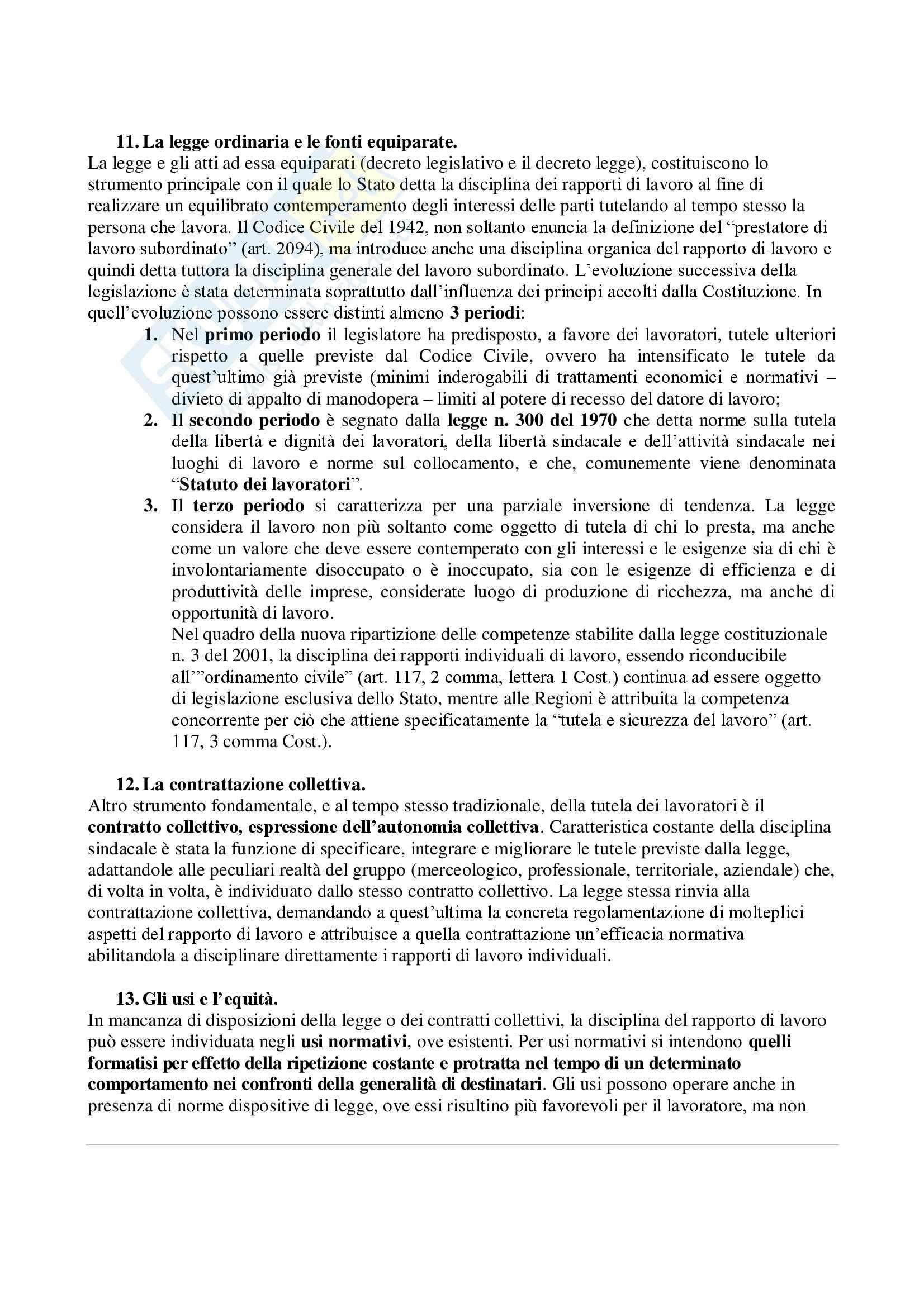 Riassunto esame Diritto del Lavoro, prof. Persiani Pag. 6