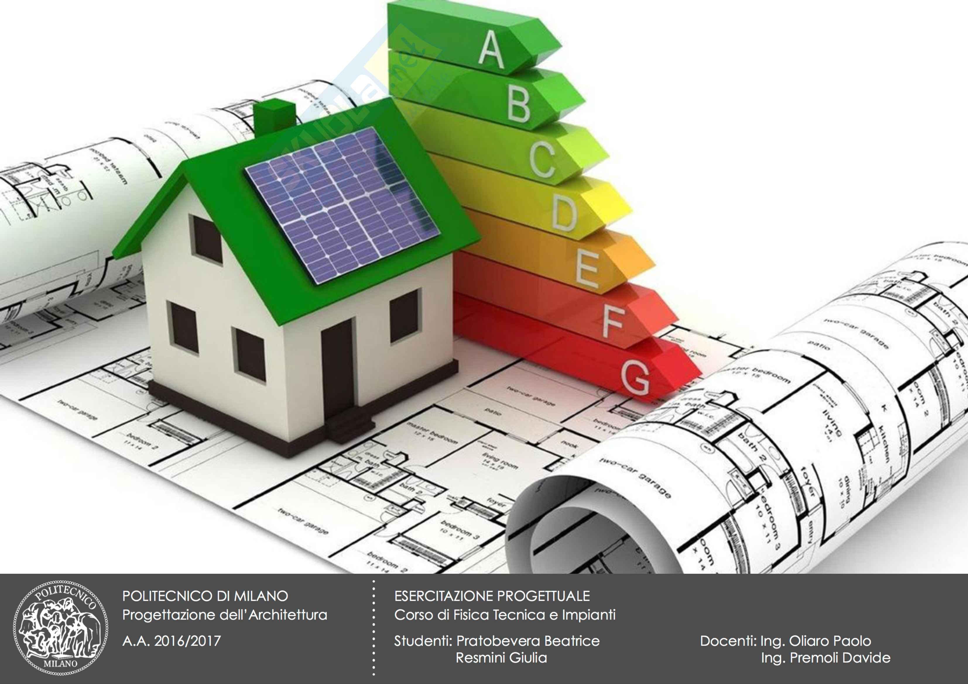 Esercitazione Fisica Tecnica e Impianti, certificazione energetica