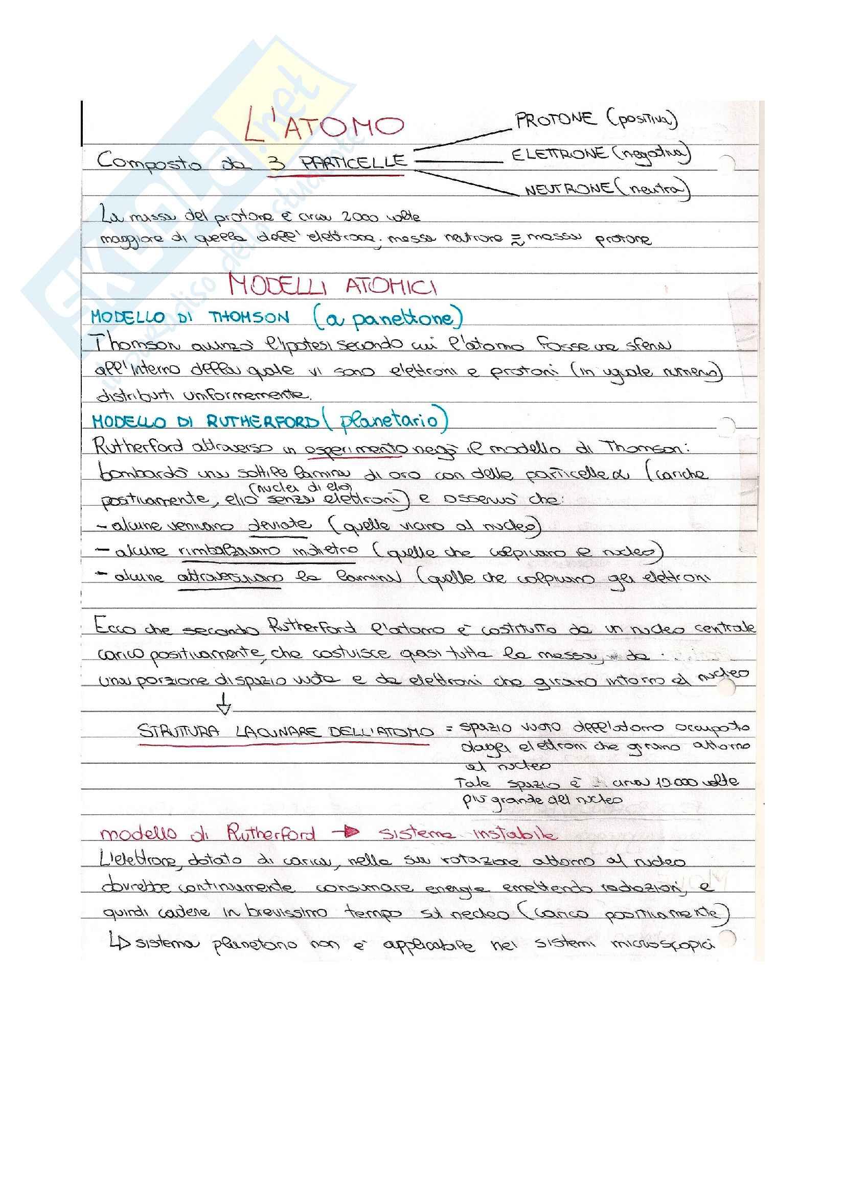 Appunti di Chimica su Modelli atomici Thomson Rutherford Bohr Schrodinger e configurazione elettronica
