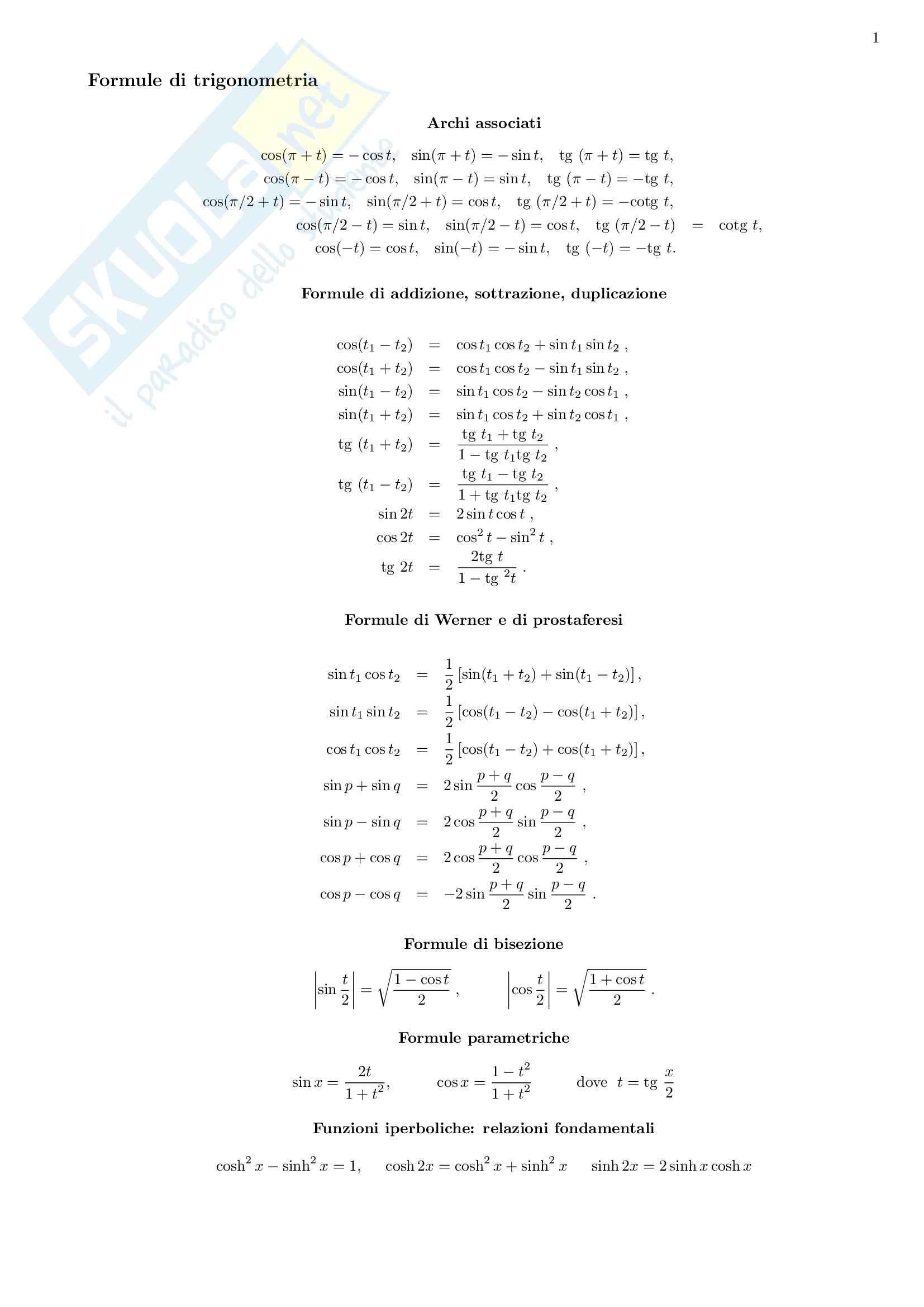 Analisi matematica - Formulario