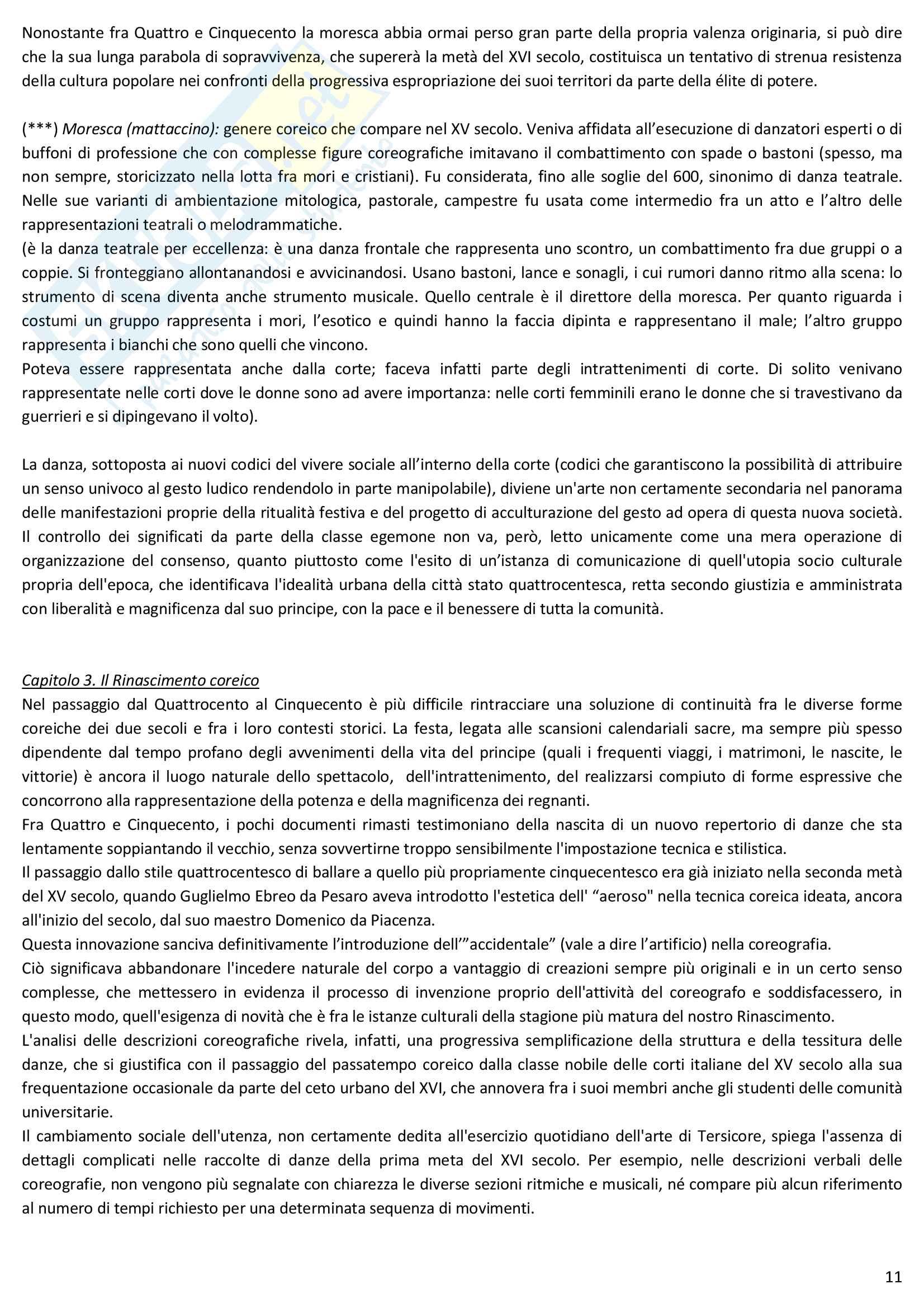 Riassunto esame Storia della danza e del mimo, prof. Pagnini, libro consigliato Storia della danza dal Medioevo ai giorni nostri, Alessandro Pontremoli Pag. 11