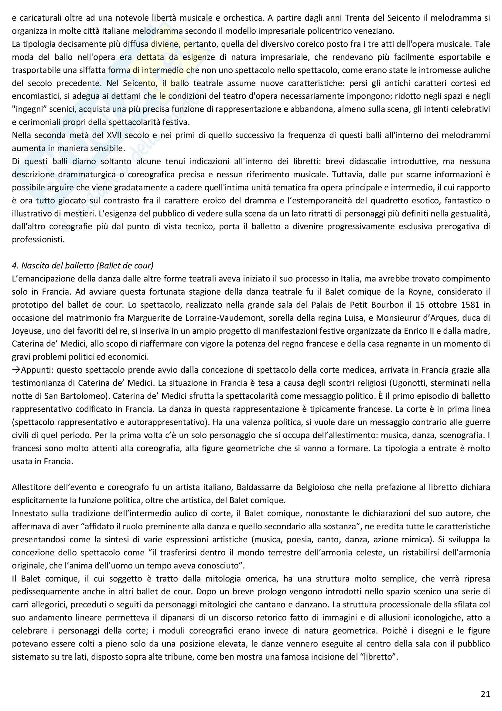 Riassunto esame Storia della danza e del mimo, prof. Pagnini, libro consigliato Storia della danza dal Medioevo ai giorni nostri, Alessandro Pontremoli Pag. 21