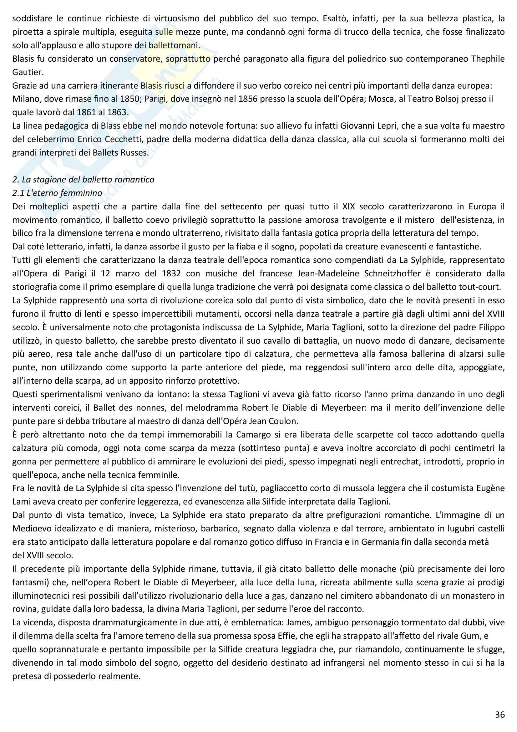 Riassunto esame Storia della danza e del mimo, prof. Pagnini, libro consigliato Storia della danza dal Medioevo ai giorni nostri, Alessandro Pontremoli Pag. 36