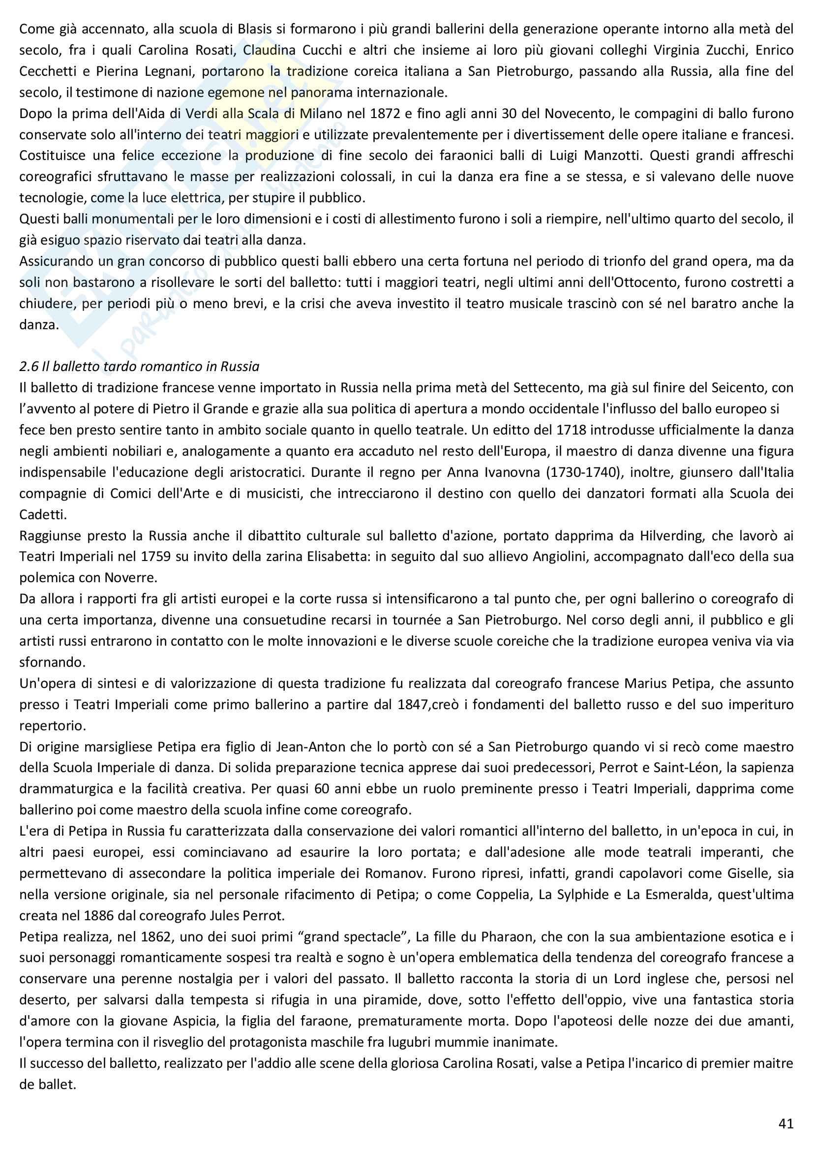 Riassunto esame Storia della danza e del mimo, prof. Pagnini, libro consigliato Storia della danza dal Medioevo ai giorni nostri, Alessandro Pontremoli Pag. 41