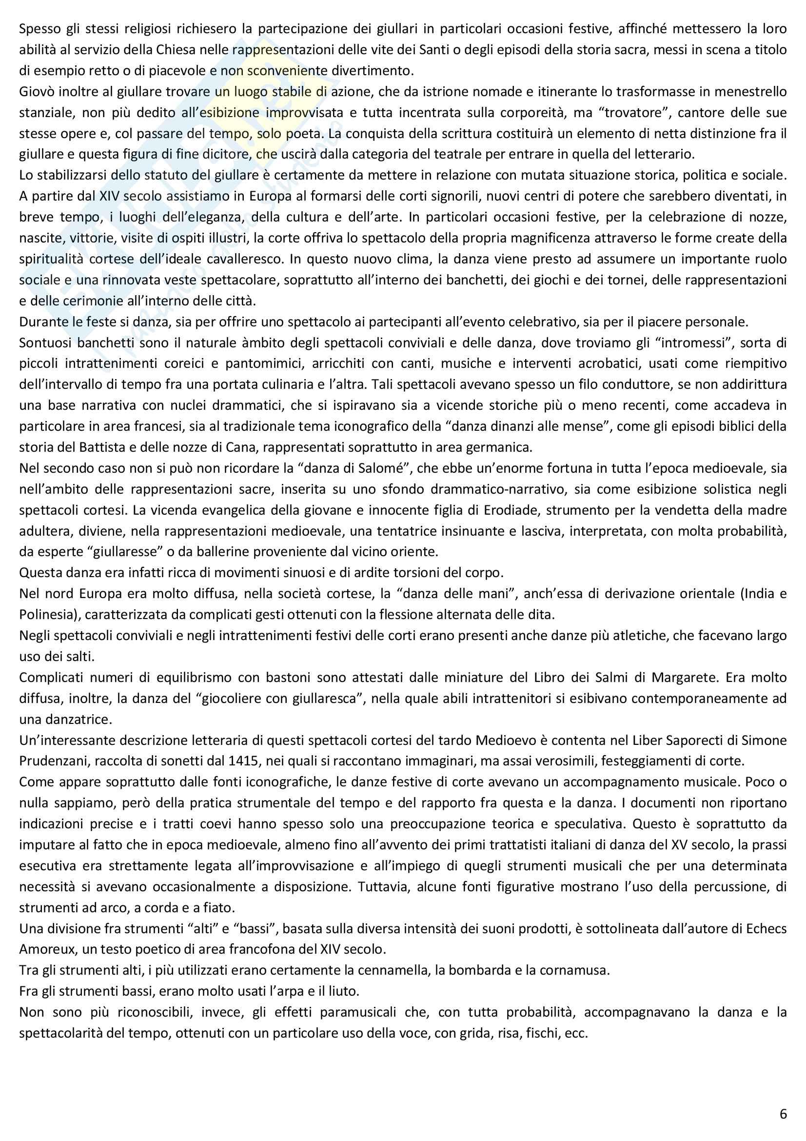 Riassunto esame Storia della danza e del mimo, prof. Pagnini, libro consigliato Storia della danza dal Medioevo ai giorni nostri, Alessandro Pontremoli Pag. 6