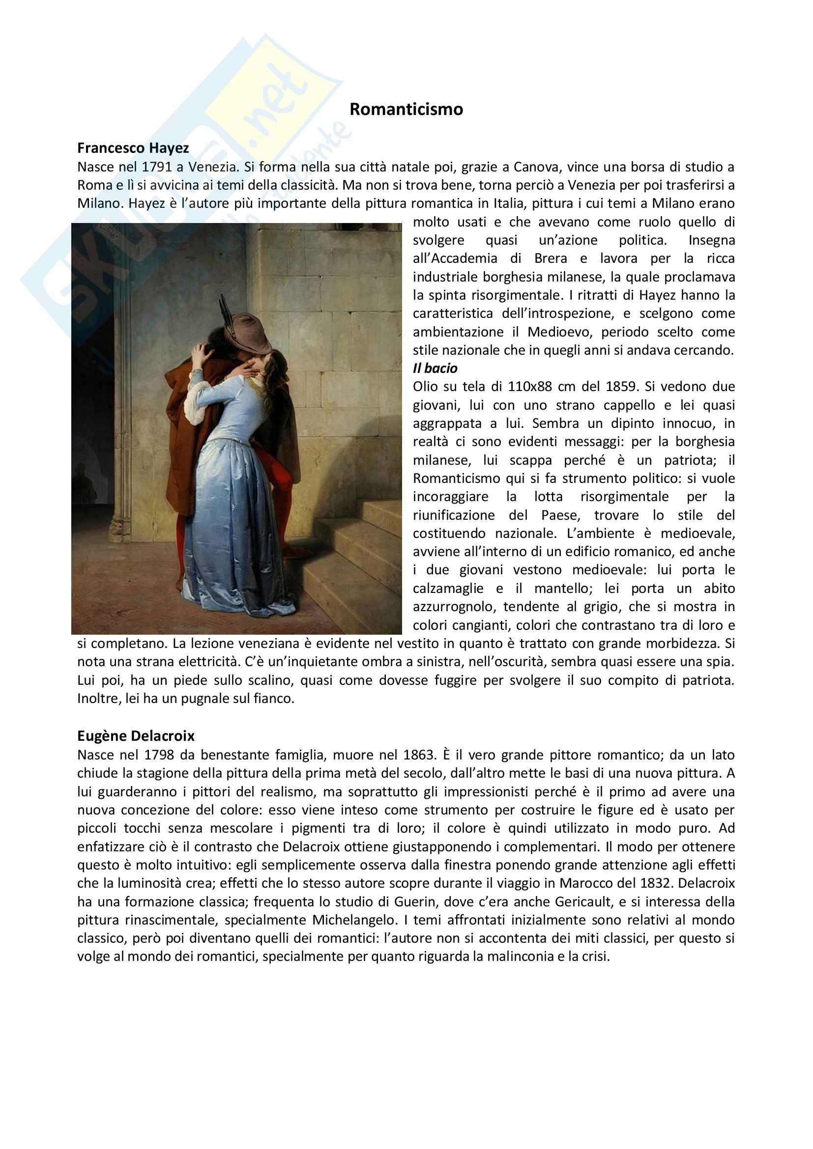 Storia dell'arte contemporanea - il Romanticismo
