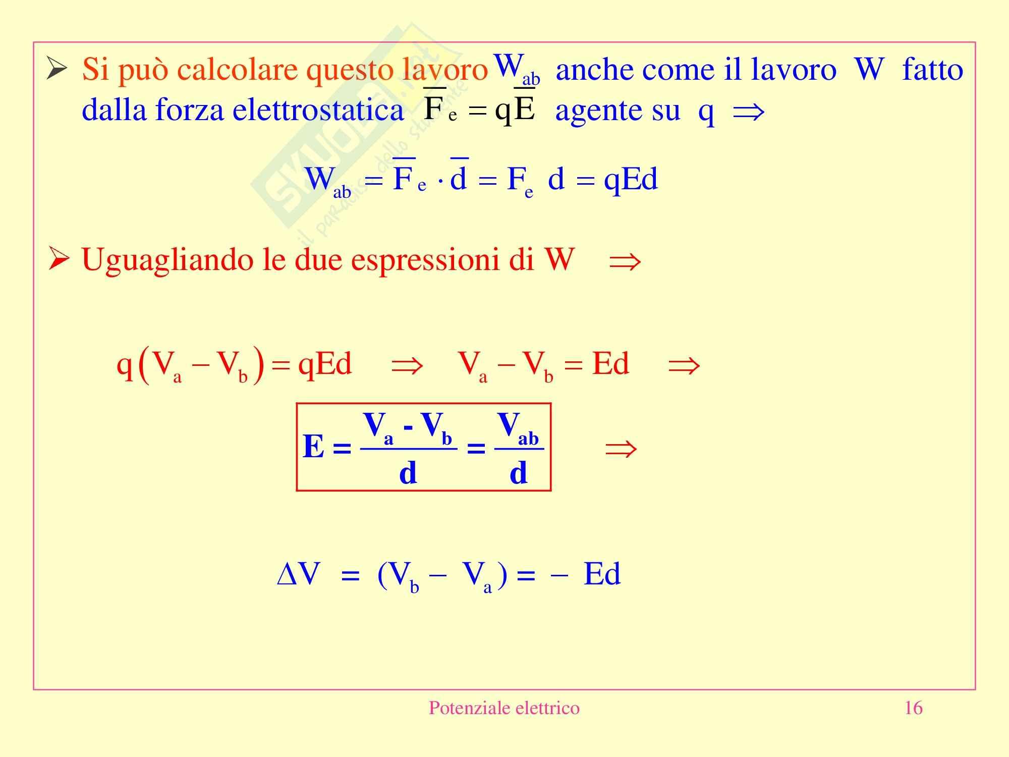 Fisica applicata - Potenziale elettrico Pag. 16