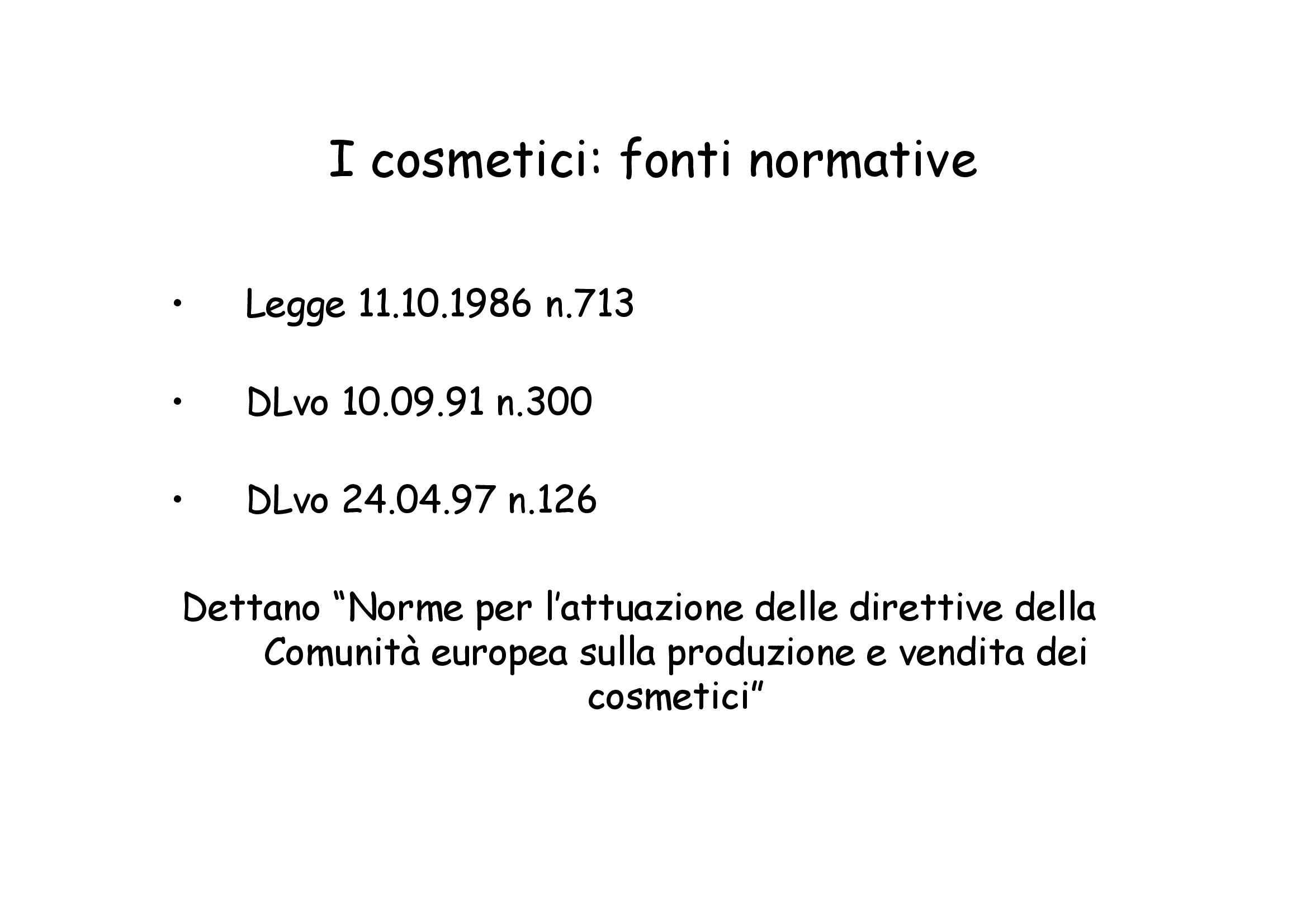 Cosmetici - Produzione e controllo