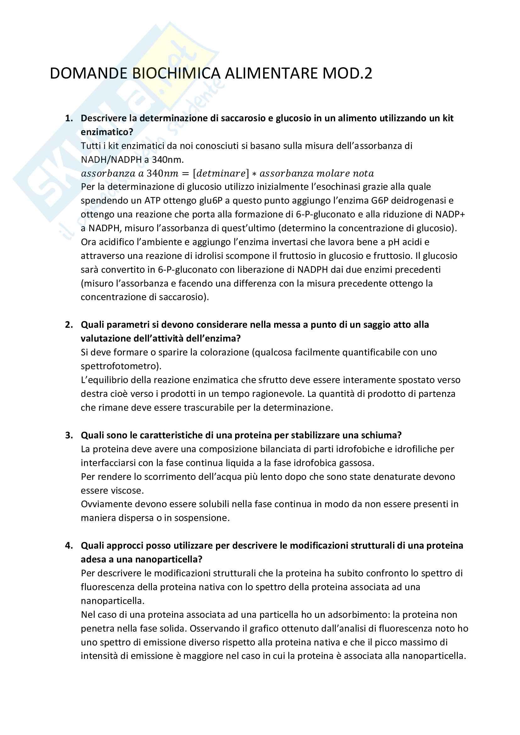 Domande e risposte esame biochimica alimentare - Prof. Iametti