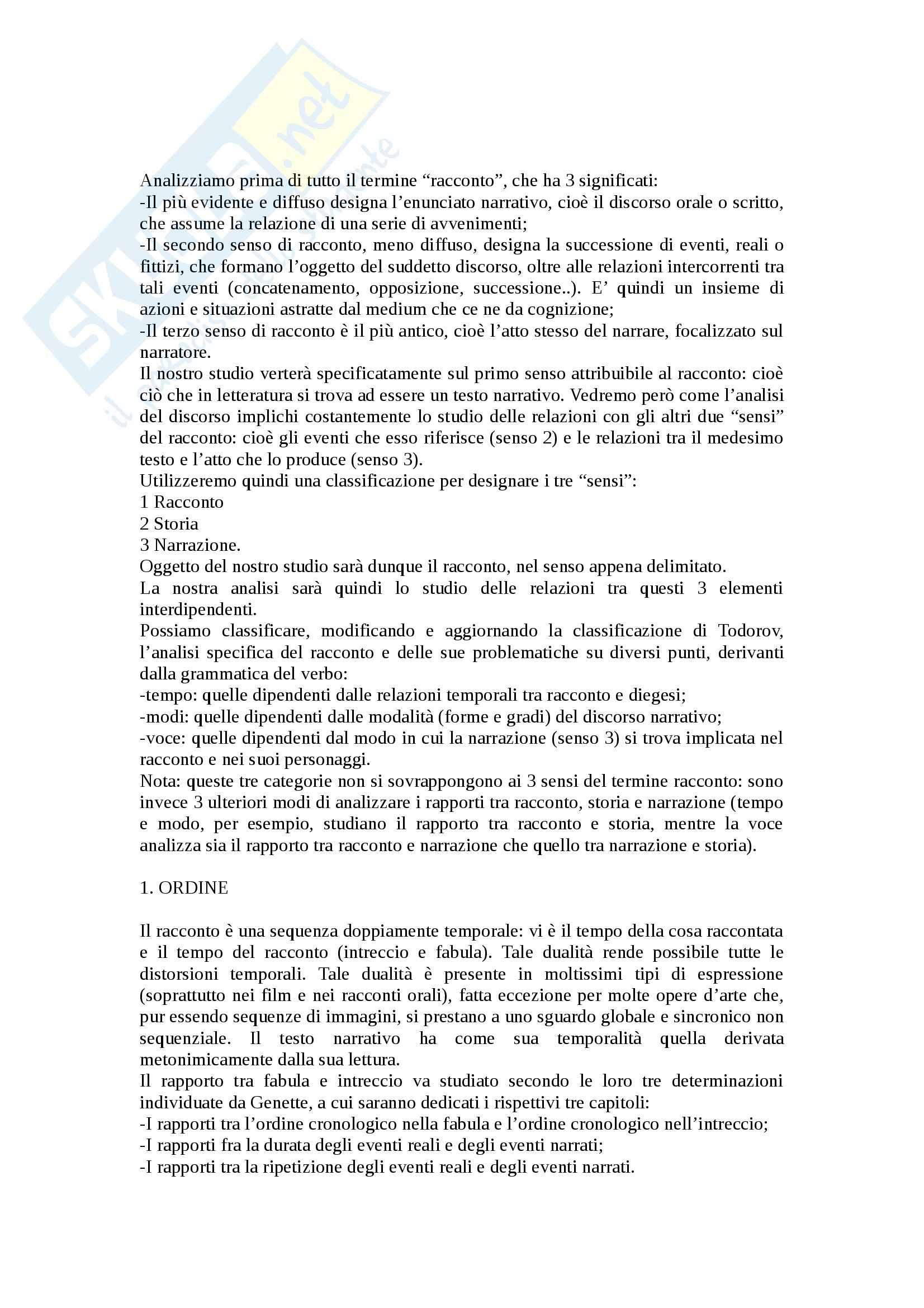 Riassunto esame Semiotica, prof. Pisanty, libro consigliato Figure III, Genette