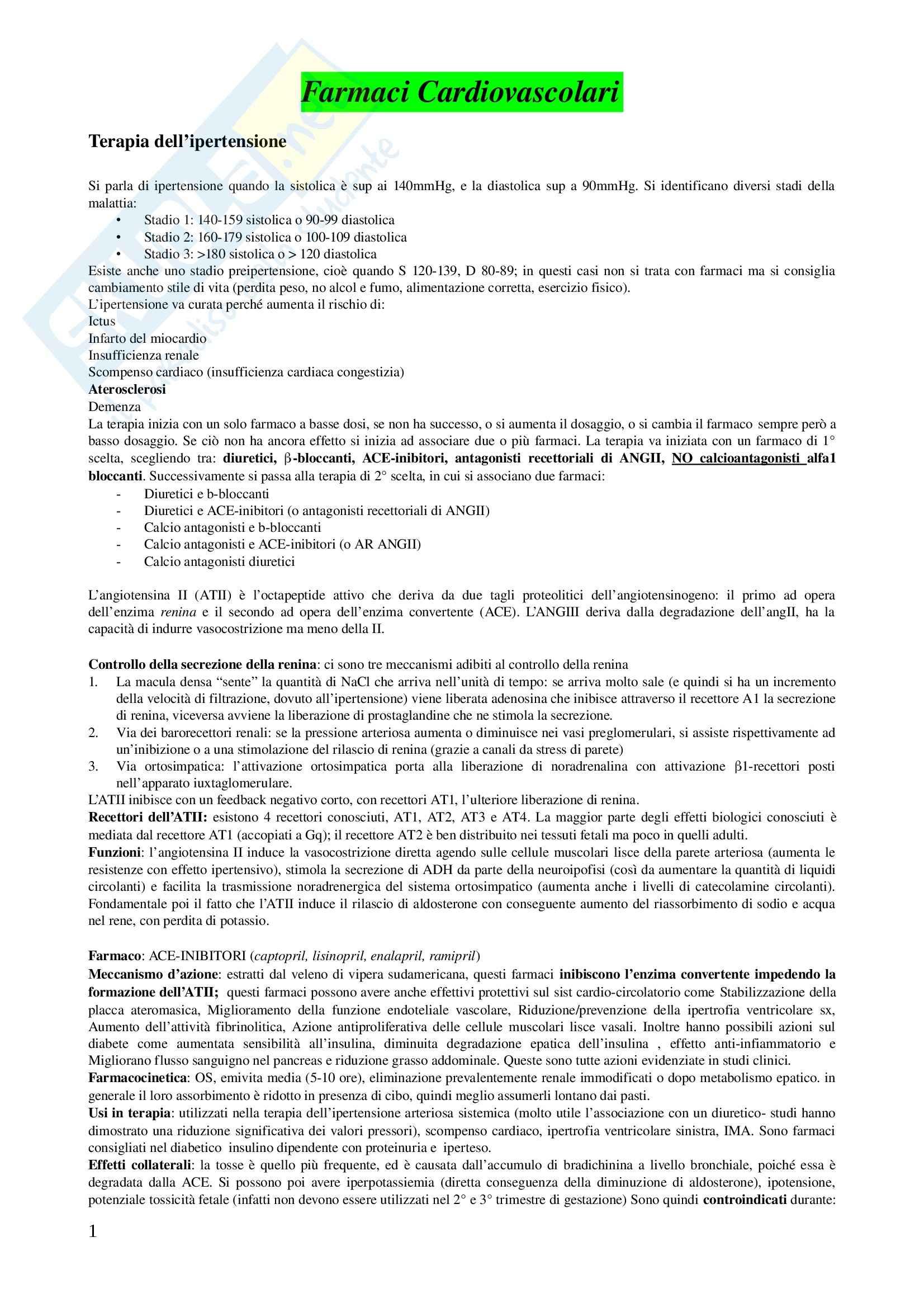Basi Farmacologiche dellla Terapia II - Appunti