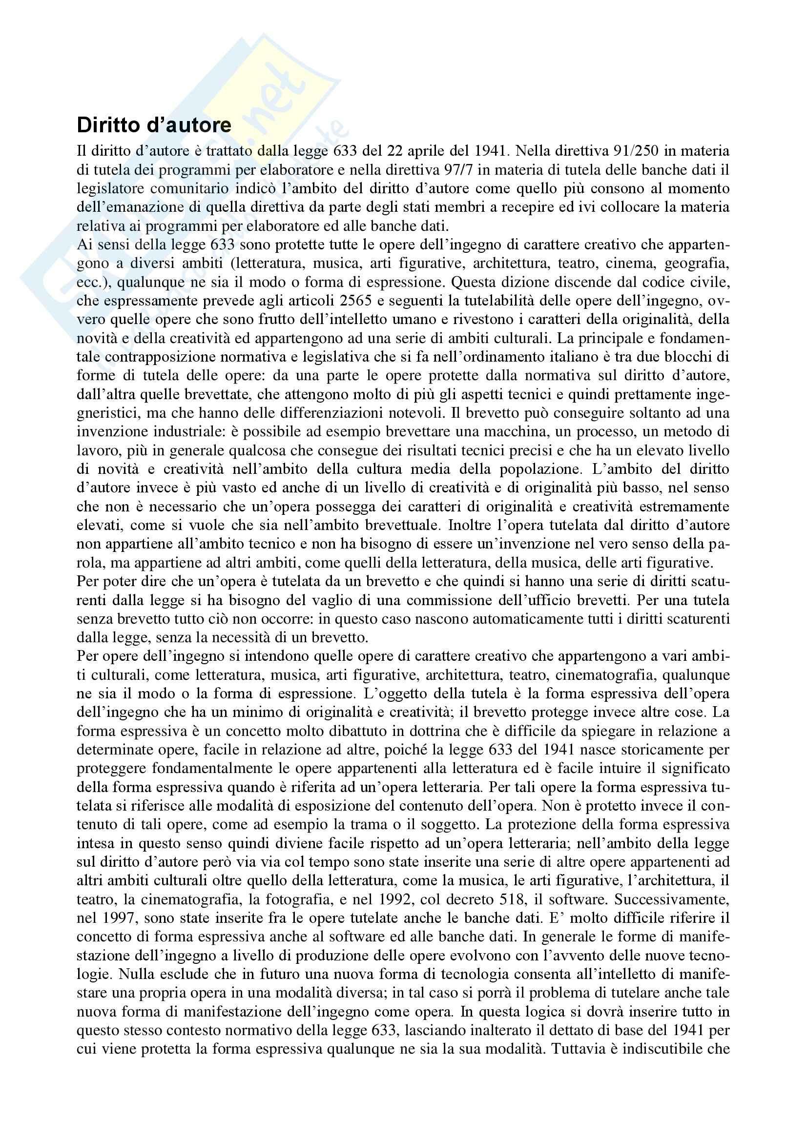 Diritto dell'informatica - Appunti