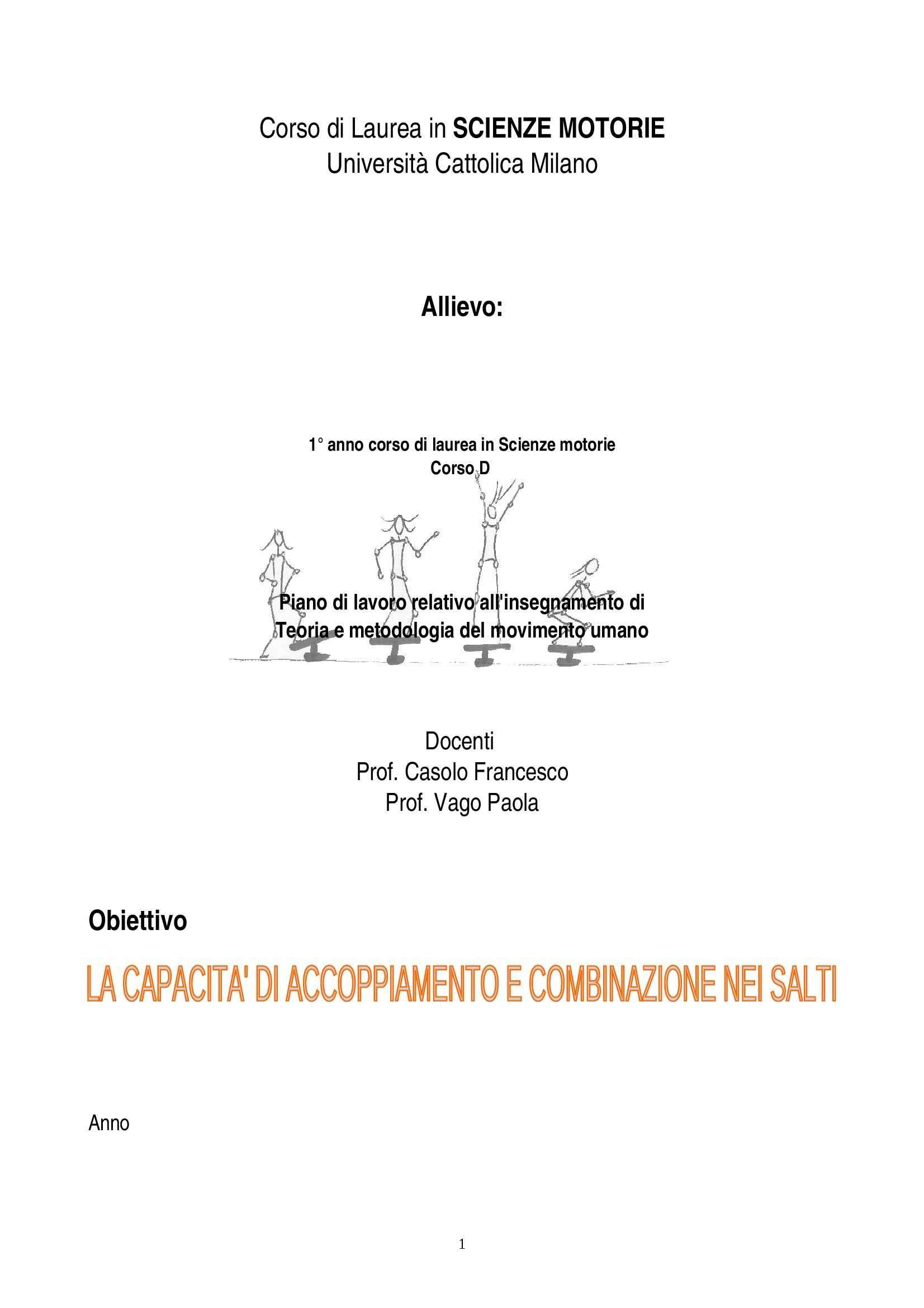 Teoria e Metodologia del movimento umano - esercitazione