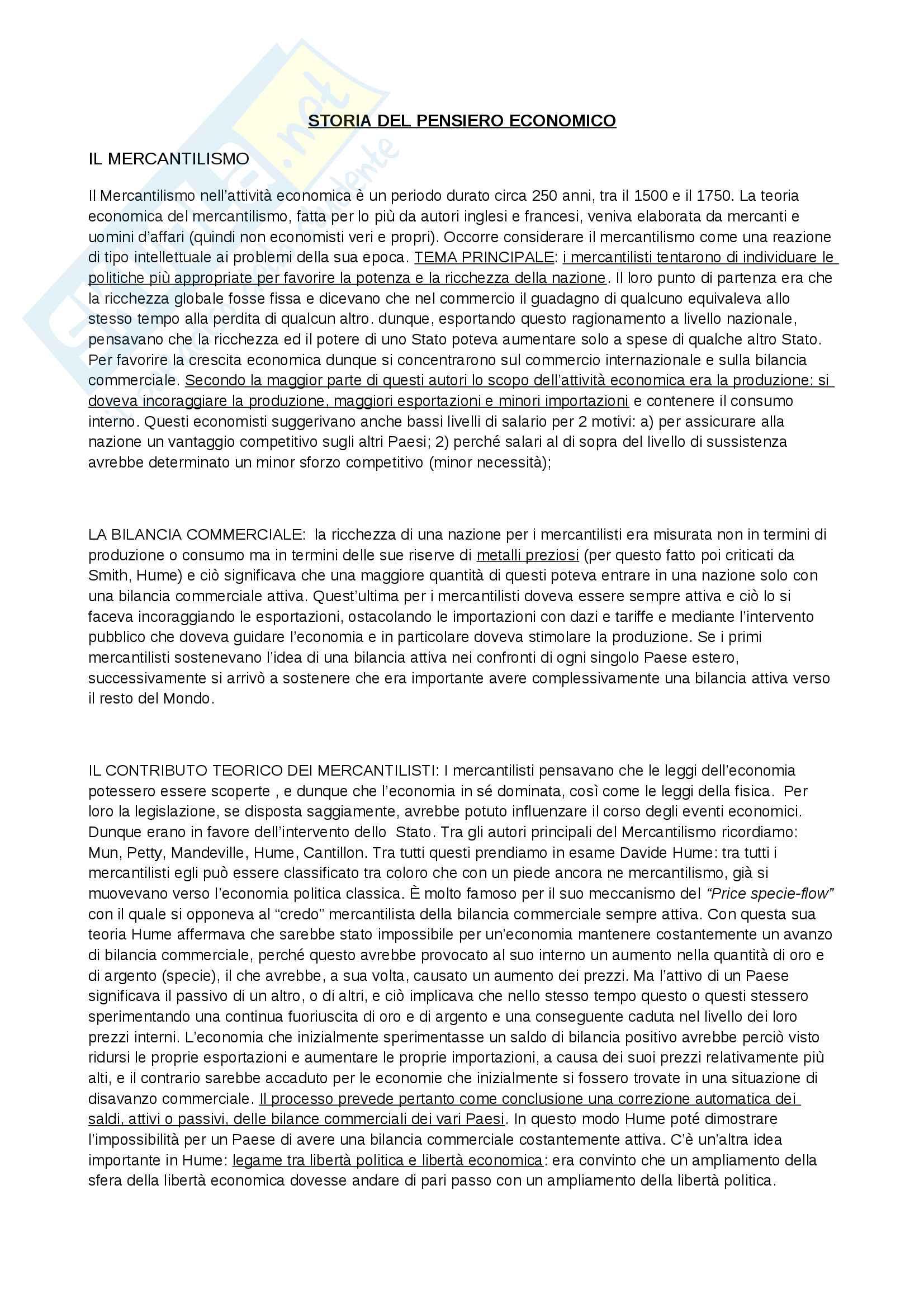 Riassunto esame Storia del Pensiero Economico, prof. Bini, libro consigliato Profilo di storia del pensiero economico, Zamagni