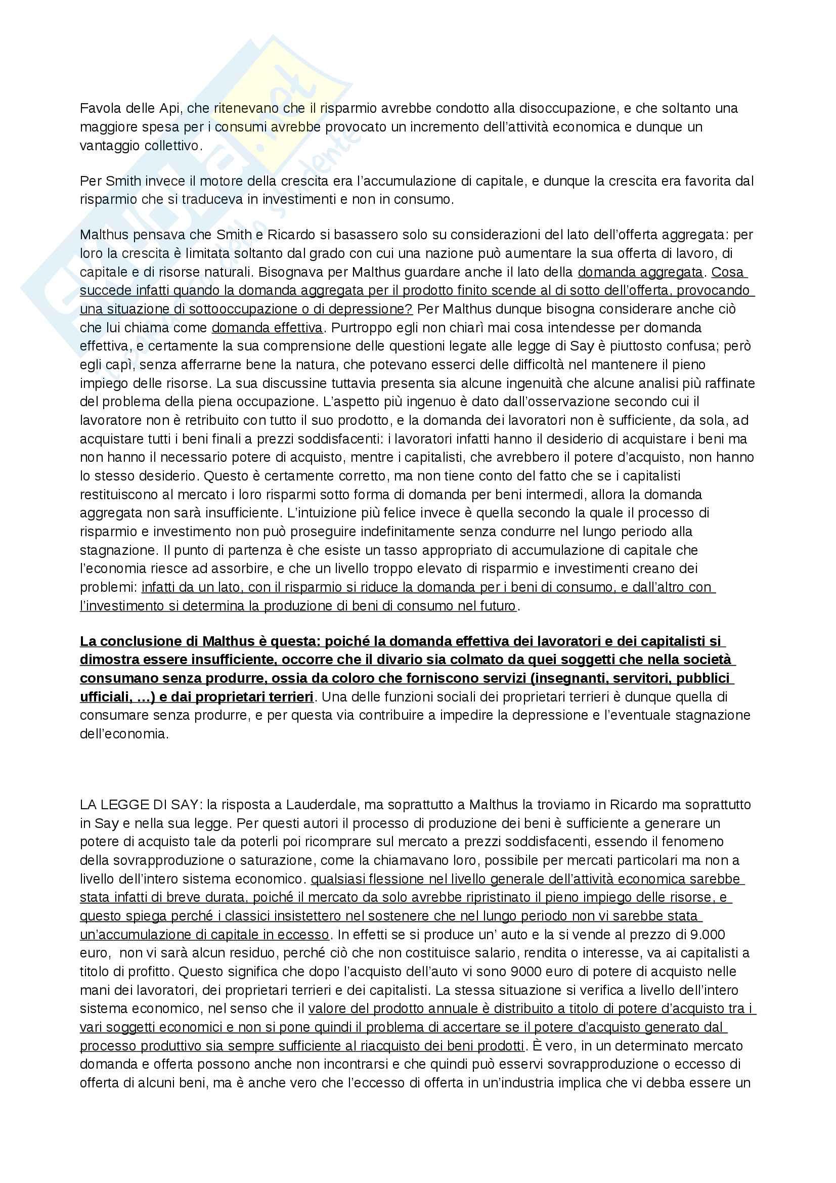 Riassunto esame Storia del Pensiero Economico, prof. Bini, libro consigliato Profilo di storia del pensiero economico, Zamagni Pag. 16