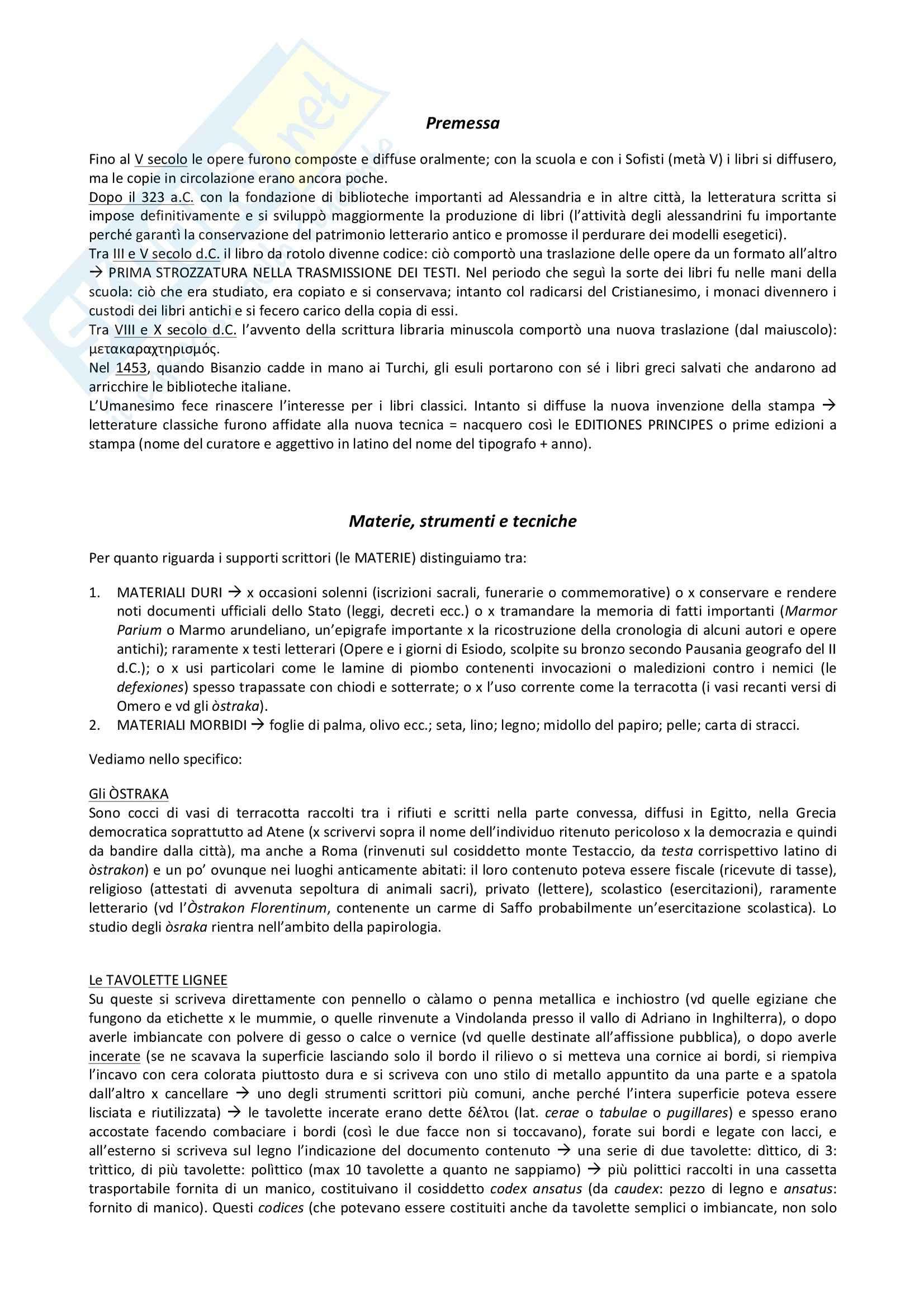 Riassunto esame Filologia, prof. Romano, libro consigliato Introduzione allo studio della filologia classica, Scialuga