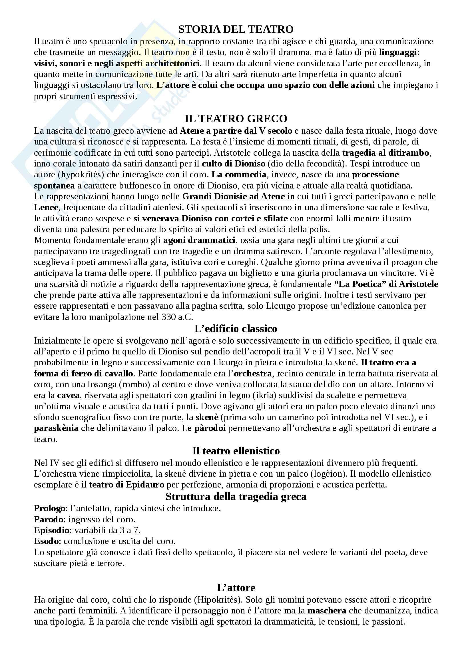 Riassunto esame Storia del teatro e dello spettacolo, prof. Egidio
