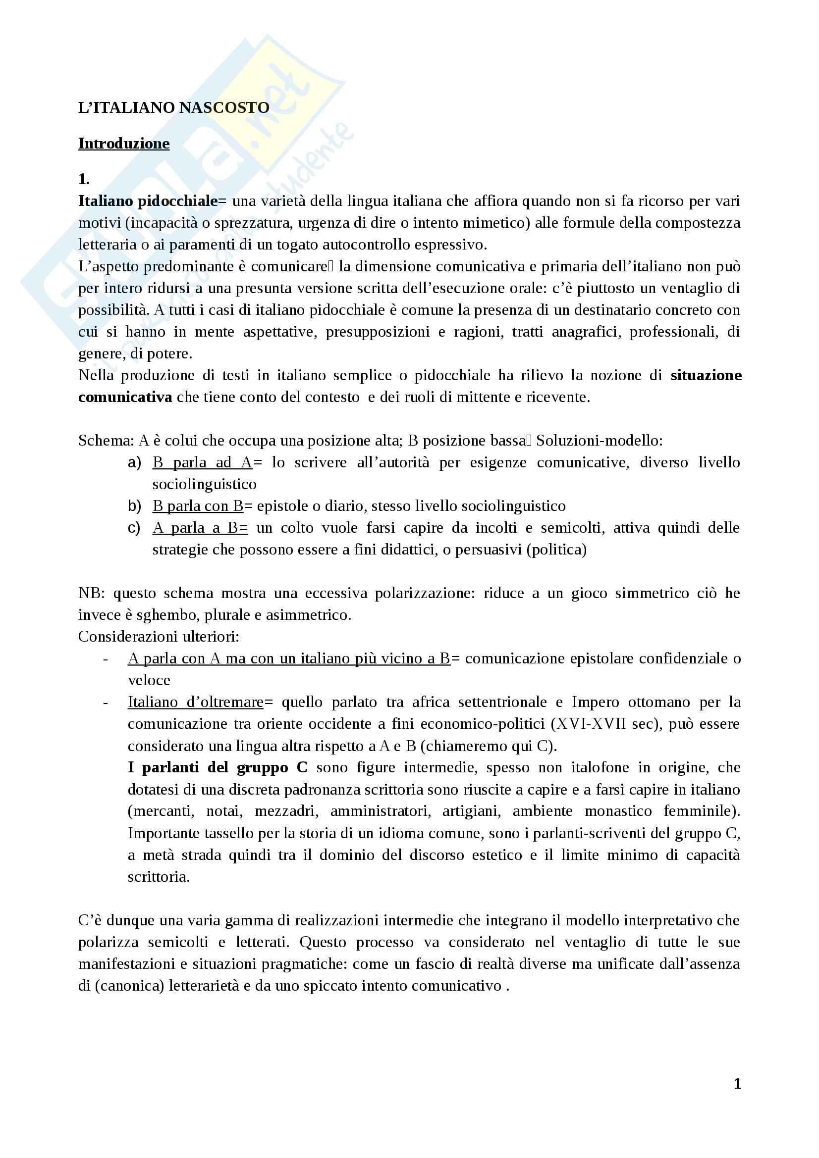 Riassunto esame Lingua e cultura italiana, prof. Viale, libro consigliato L'italiano nascosto, Enrico Testa