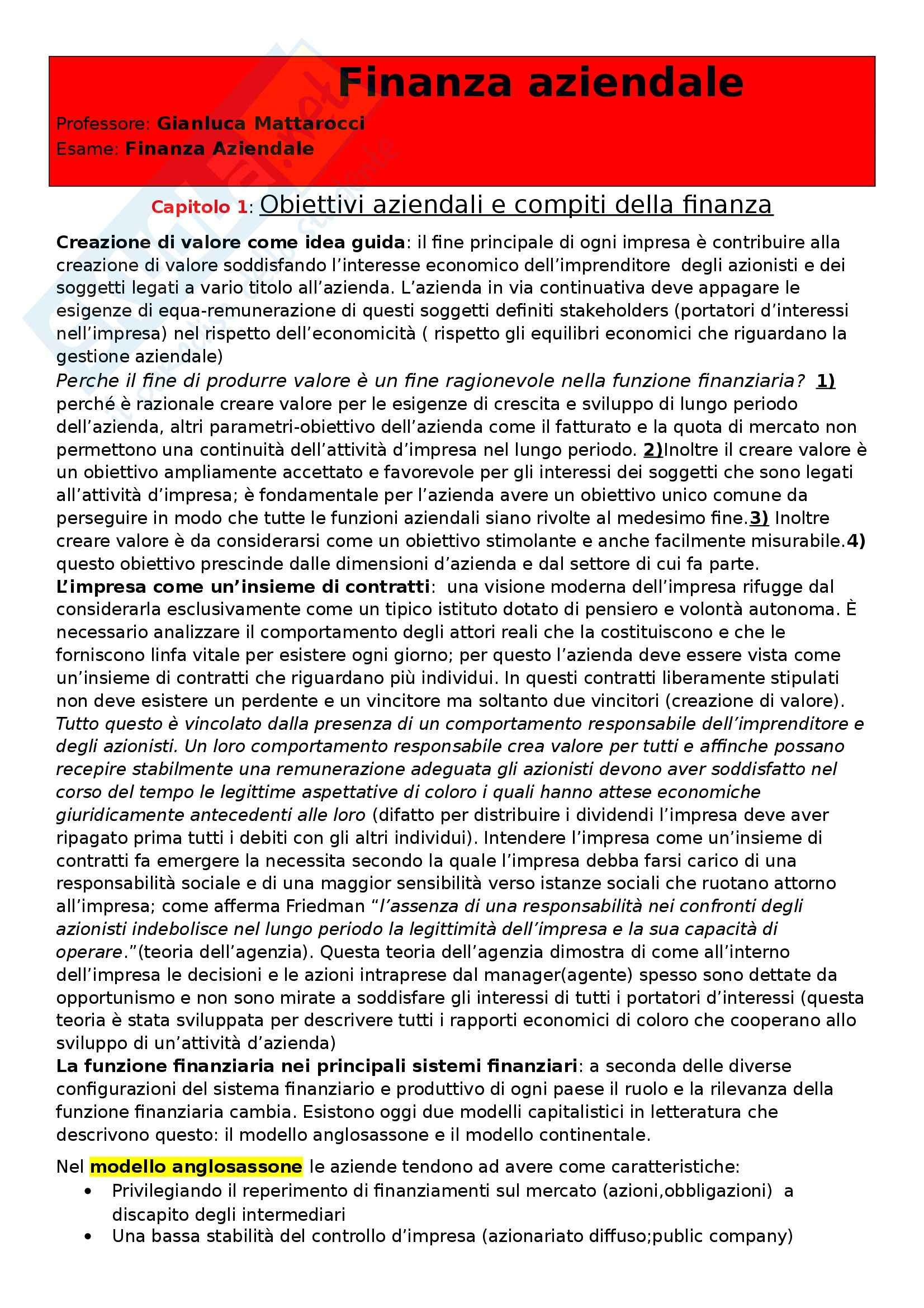 Riassunto esame Finanza Aziendale, prof. Mattarocci, libro consigliato Finanza Aziendale di Dall'Occhio e Salvi