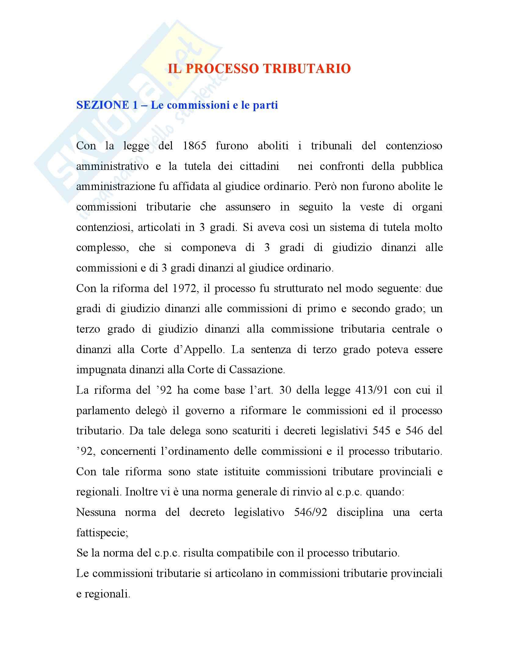 Diritto tributario - processo tributario - Tesauro - Appunti Pag. 1