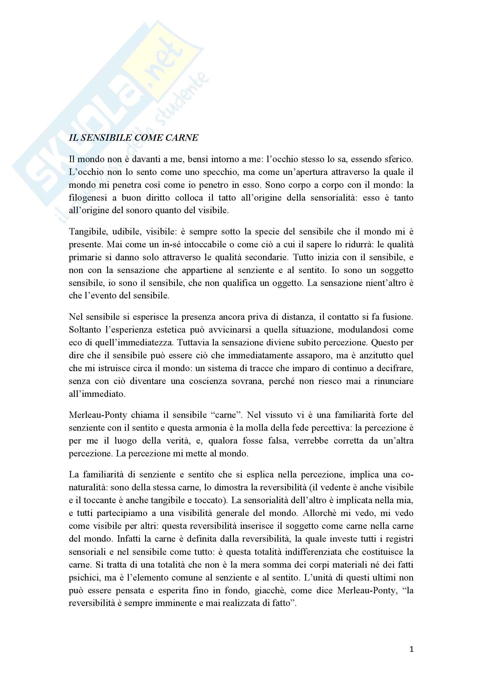 Riassunto esame Estetica, prof. Cappelletto, libro consigliato L'occhio e l'orecchio, Dufrenne