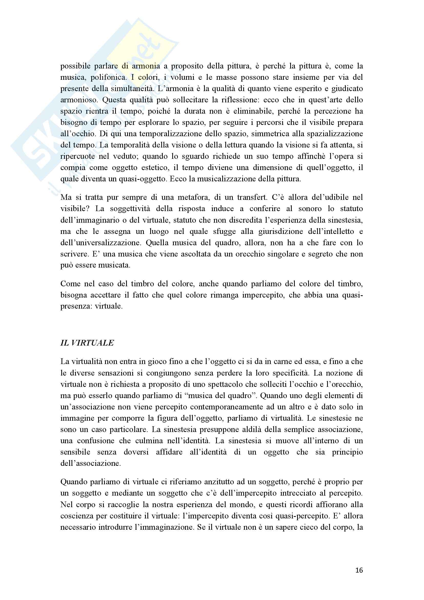 Riassunto esame Estetica, prof. Cappelletto, libro consigliato L'occhio e l'orecchio, Dufrenne Pag. 16
