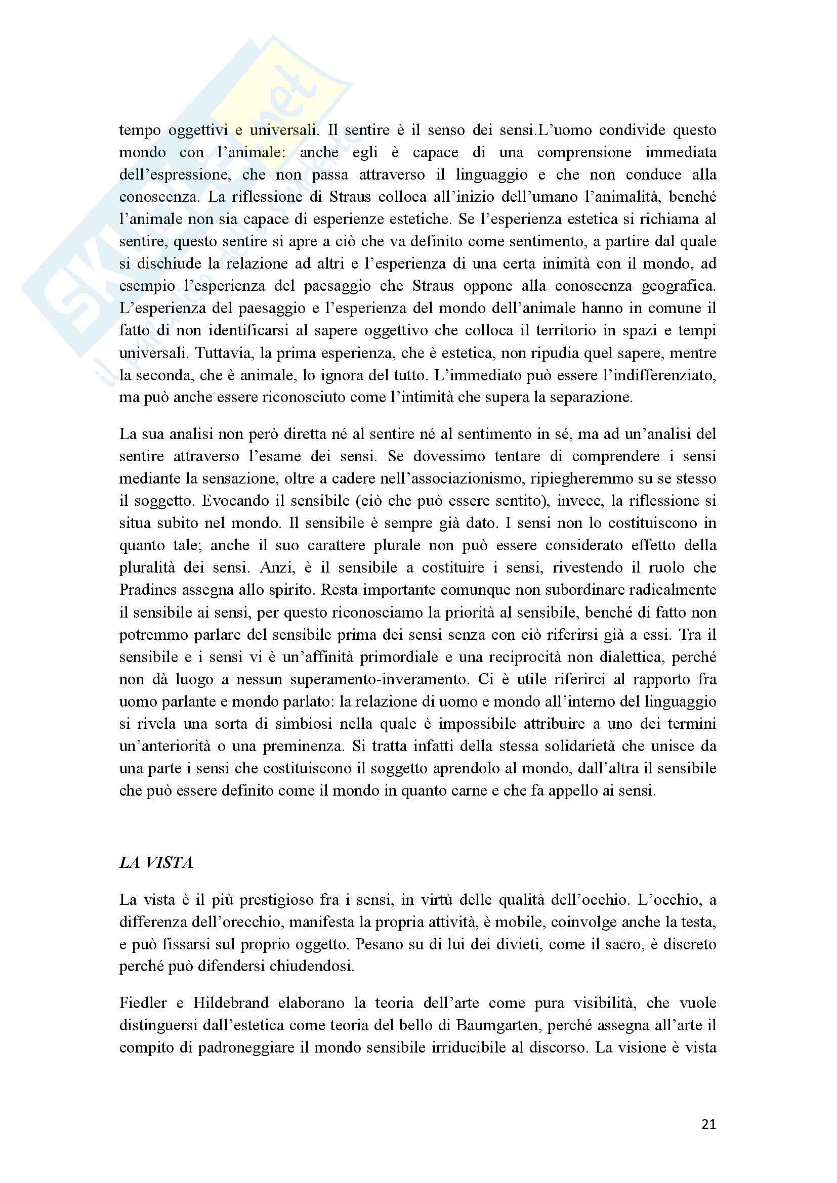 Riassunto esame Estetica, prof. Cappelletto, libro consigliato L'occhio e l'orecchio, Dufrenne Pag. 21
