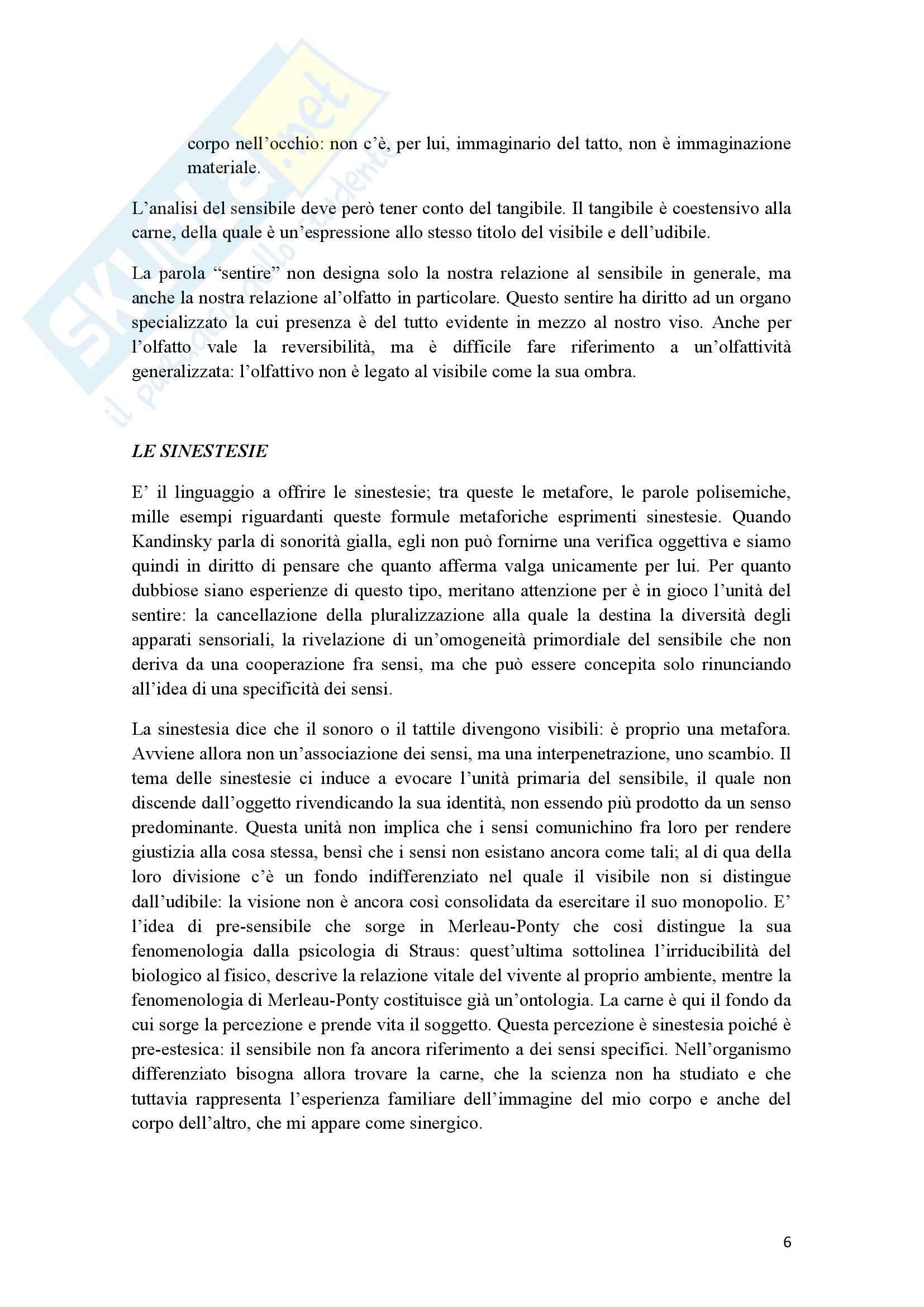 Riassunto esame Estetica, prof. Cappelletto, libro consigliato L'occhio e l'orecchio, Dufrenne Pag. 6
