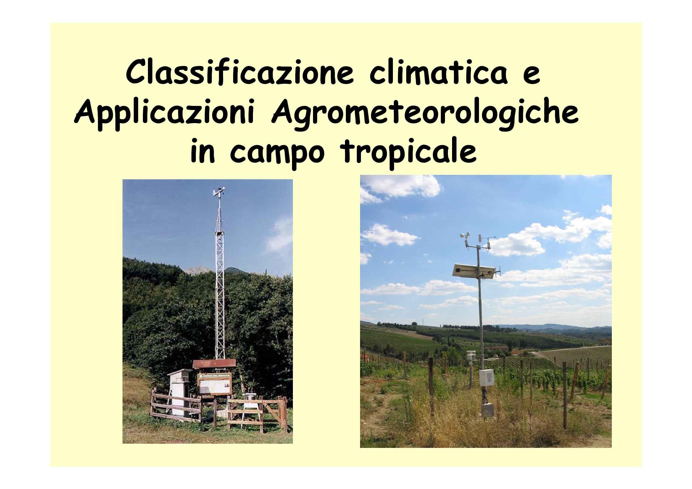 Classificazione climatica e applicazioni agrometeorologiche