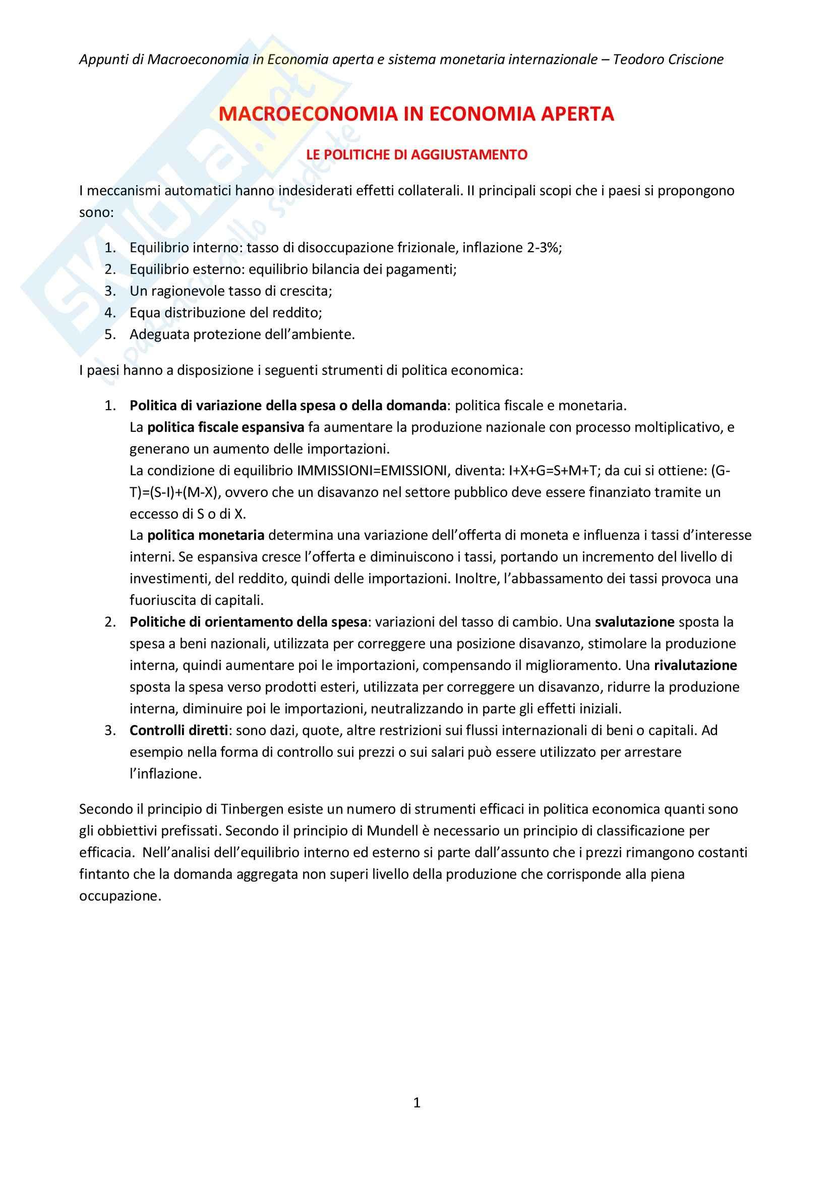 Riassunto esame Economia internazionale, prof. Cifarelli, libro consigliato Economia internazionale, Salvatore Dominick (2 di 2)