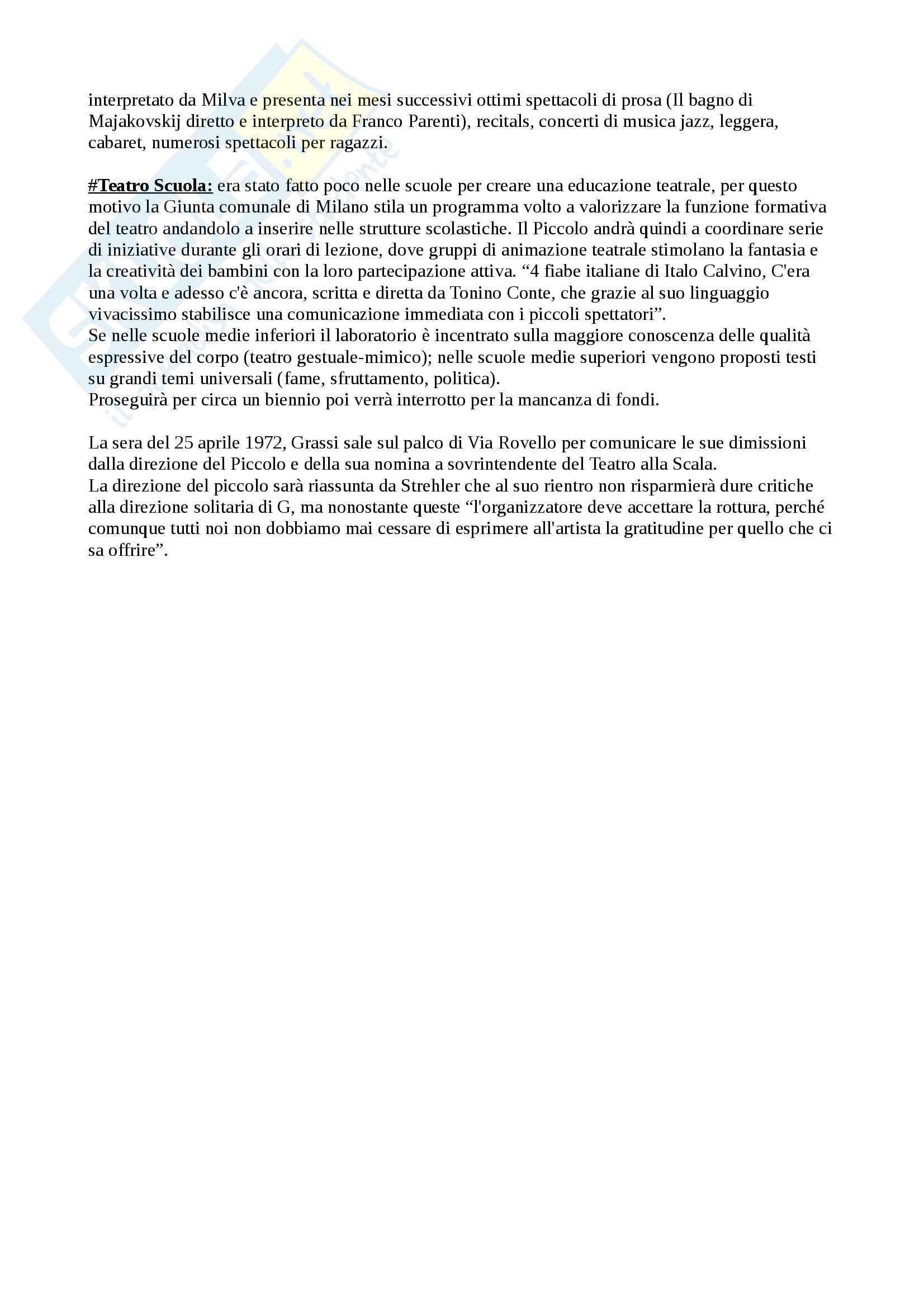 Riassunto esame storia del teatro contemporaneo, prof. Ferrone, libro consigliato Paolo Grassi. Una biografia tra Teatro, Cultura e Società, Fontana Pag. 11