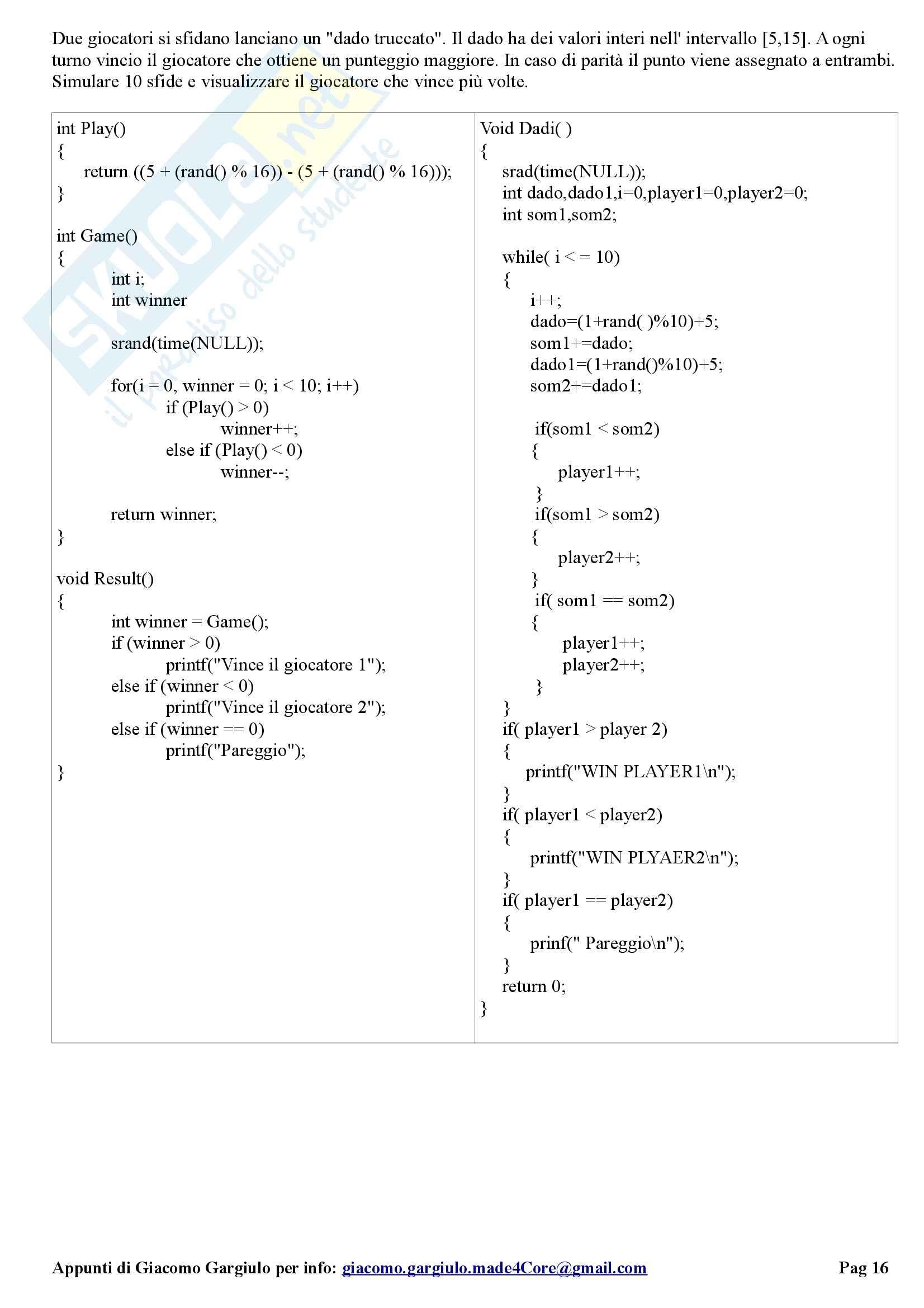 Soluzione Esercizi Esame Programmazione 1 Parthenope Pag. 16