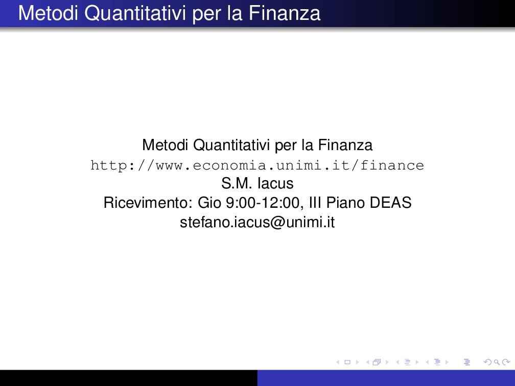 Metodi quantitativi per la finanza - Riassunto esame