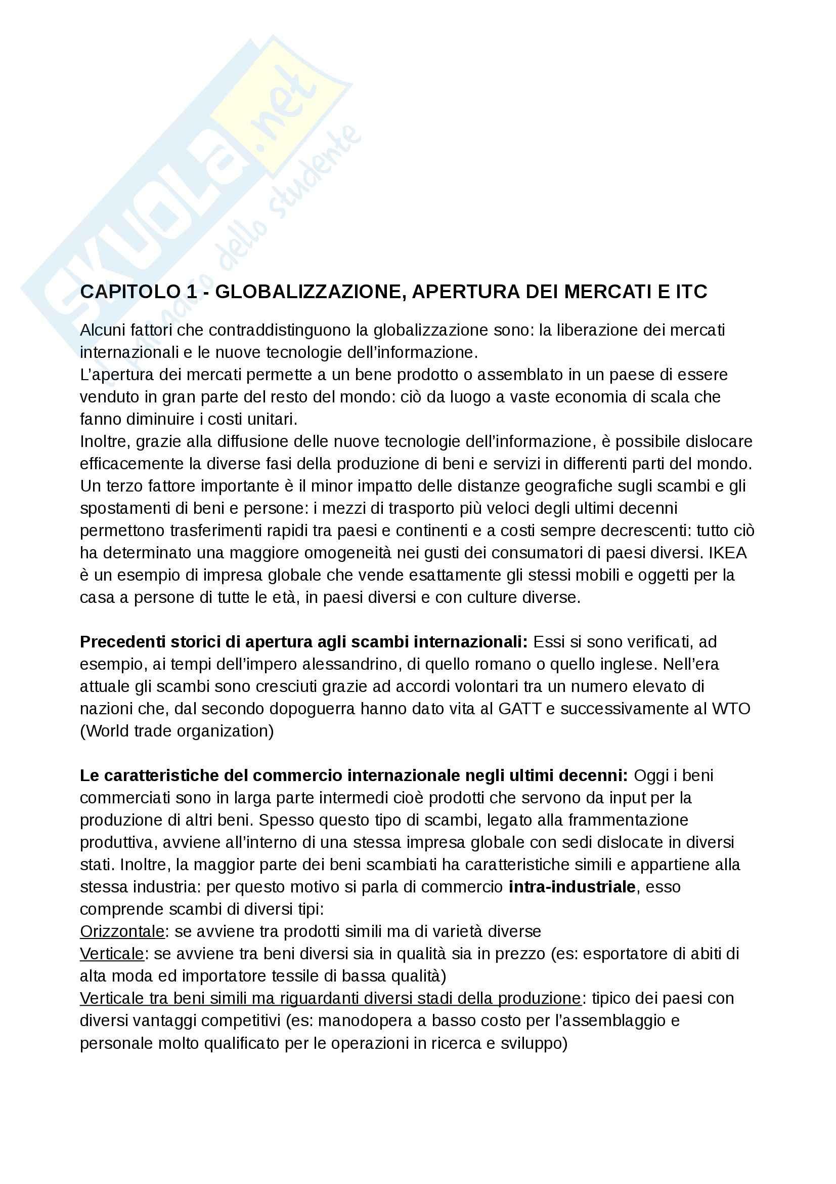 Riassunto esame Marketing Internazionale, prof. Bursi, libro consigliato Marketing Internazionale, Mc Graw Hill - Capp. 1 3 4 8 9 10 11