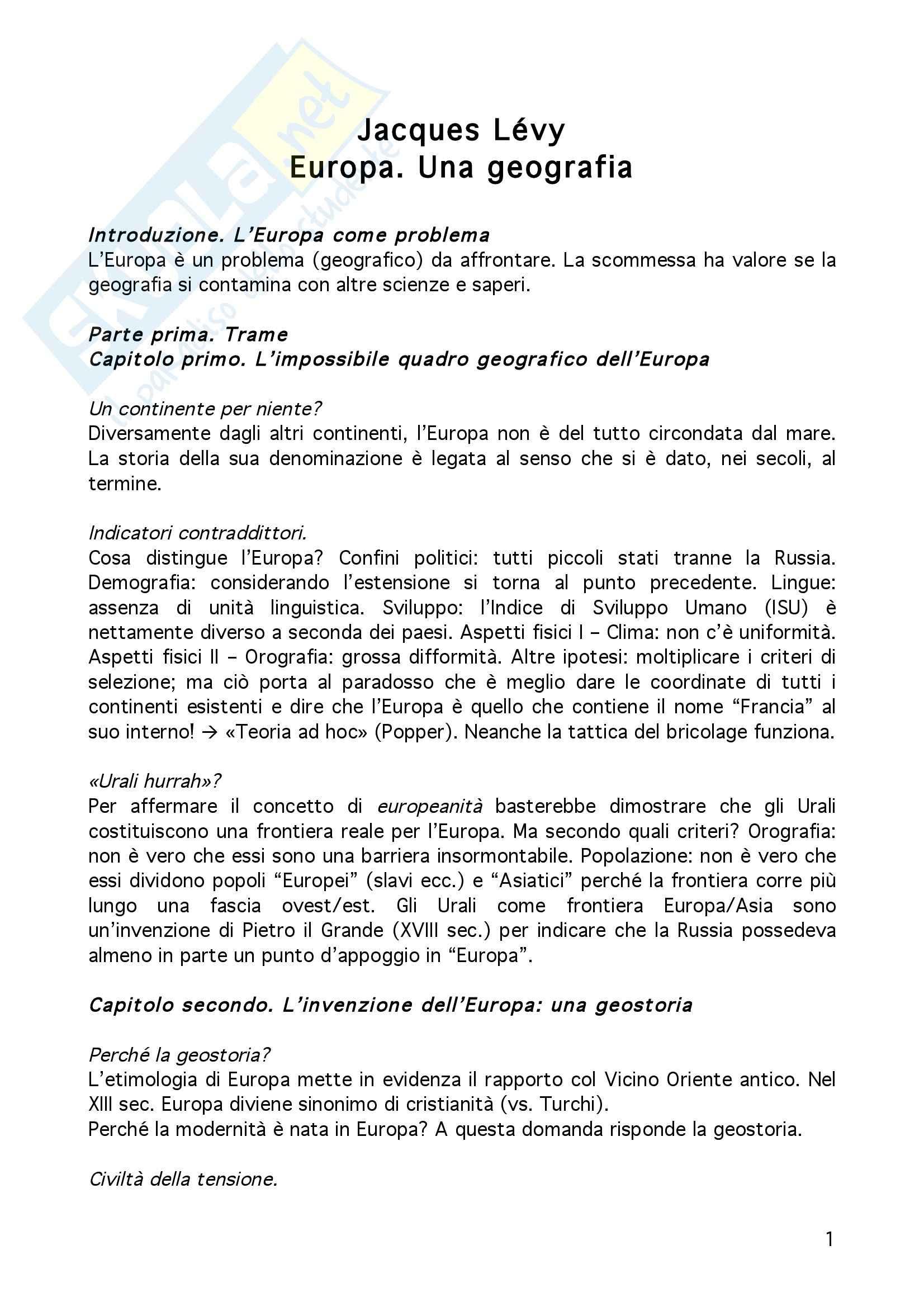 Geografia economico-politica - Lévy - Appunti