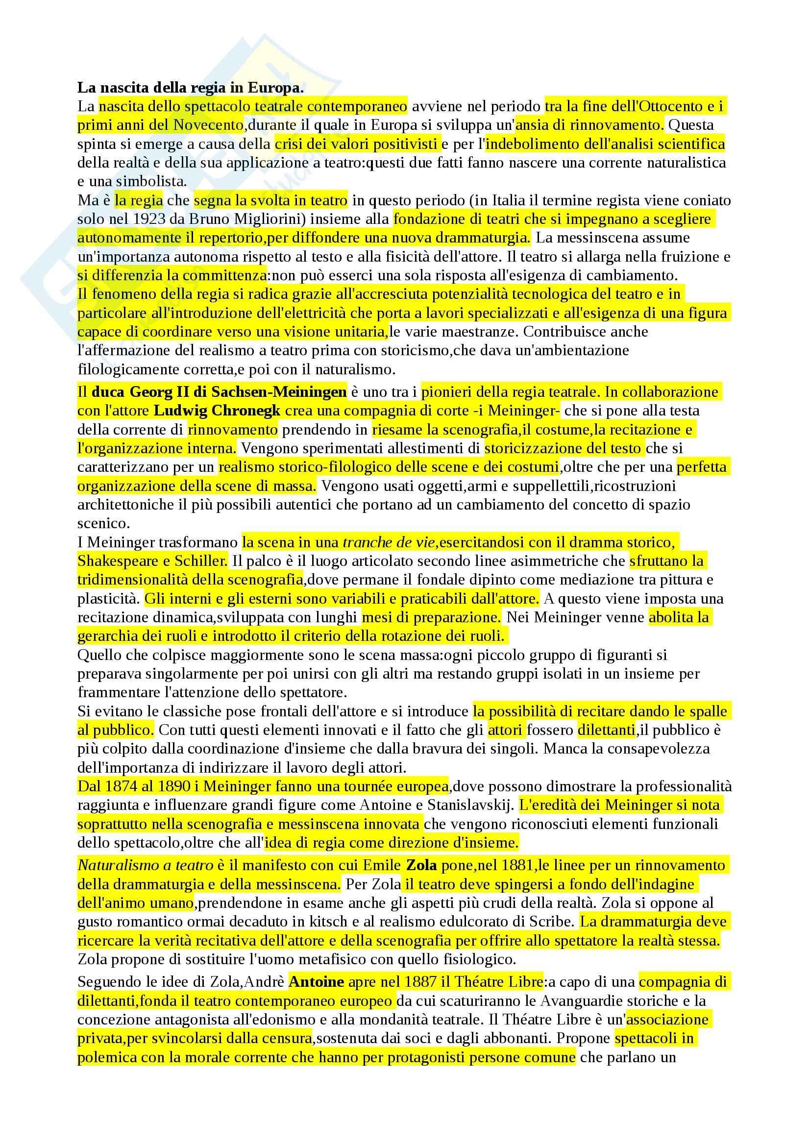 Riassunto esame Storia del teatro contemporaneo, prof. Cambiaghi, libro consigliato Storia della regia teatrale in italia, Bosisio