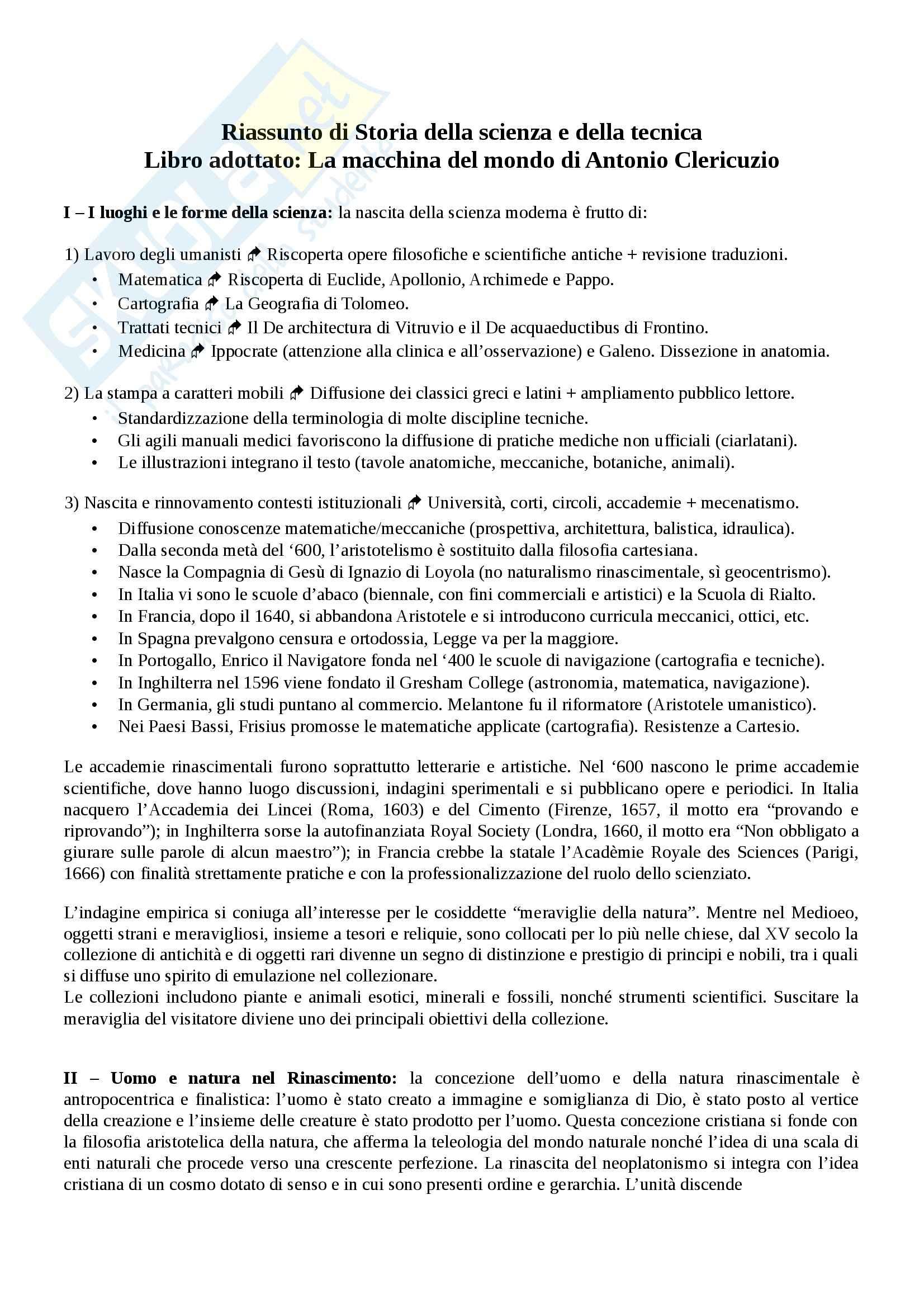 Riassunto esame Storia della scienza e della tecnica., prof. Arecco, libro consigliato La macchina del mondo di Clericuzio