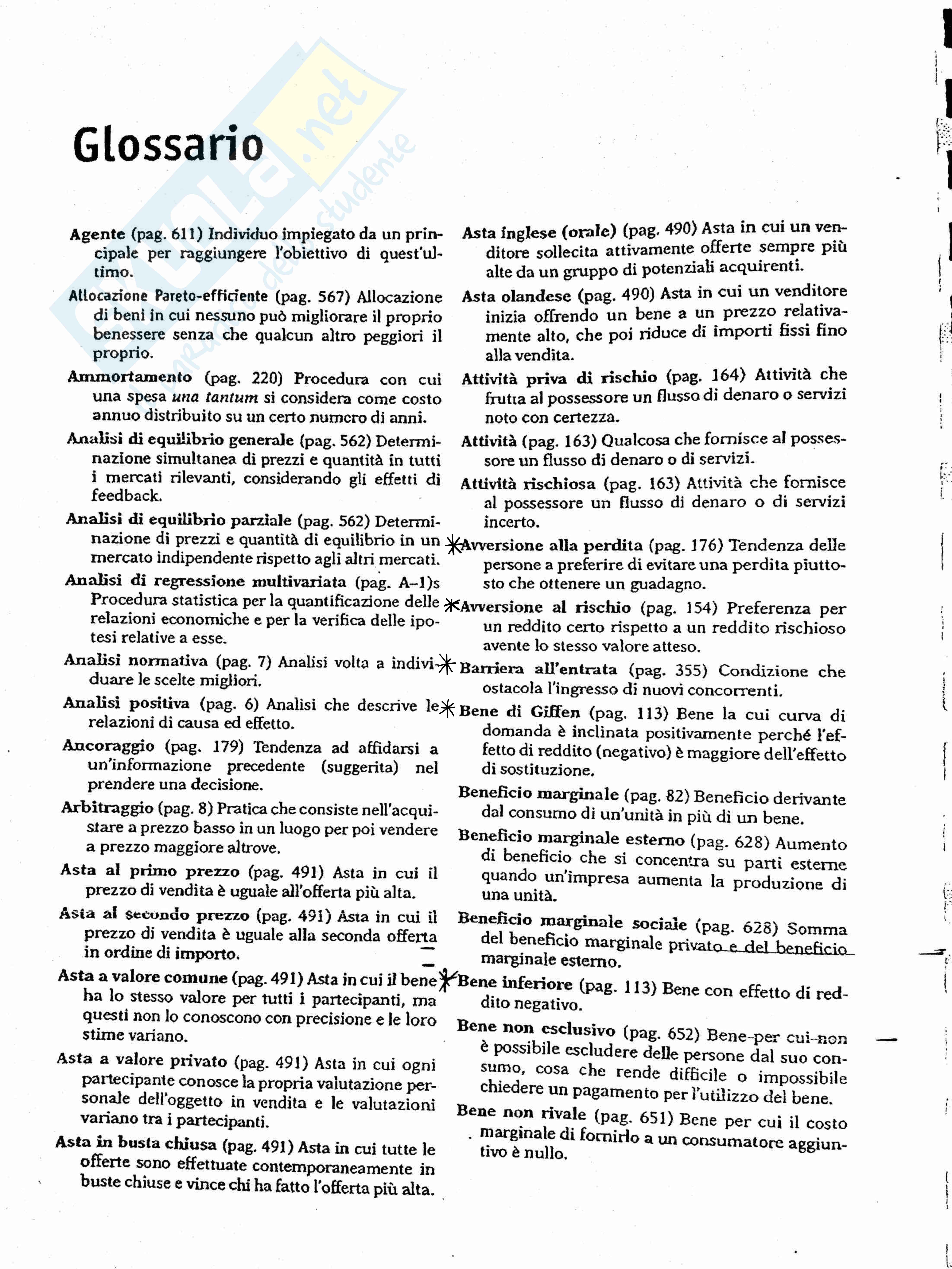 Glossario Definizioni Microeconomia