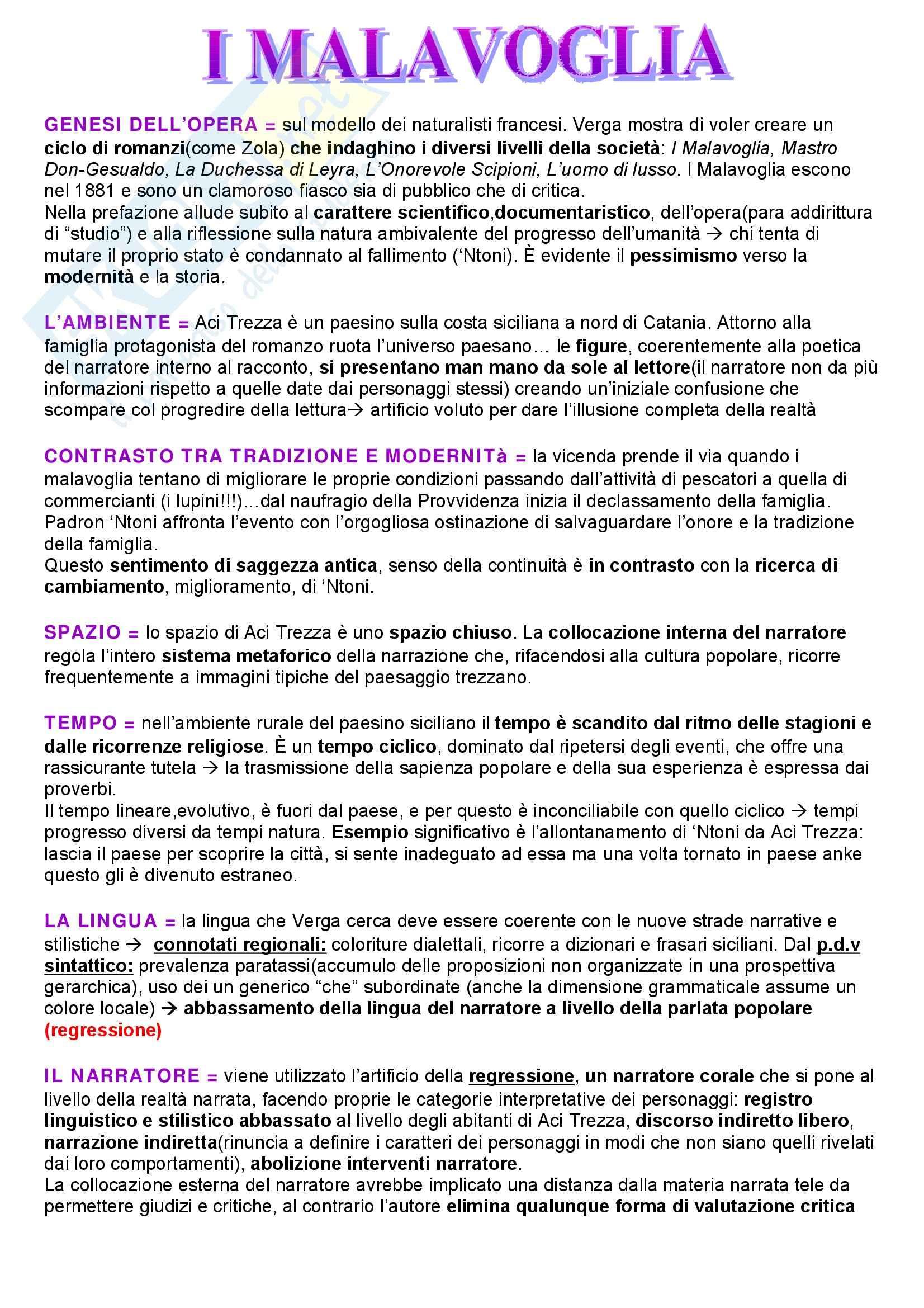 Letteratura italiana – Malavoglia – Analisi