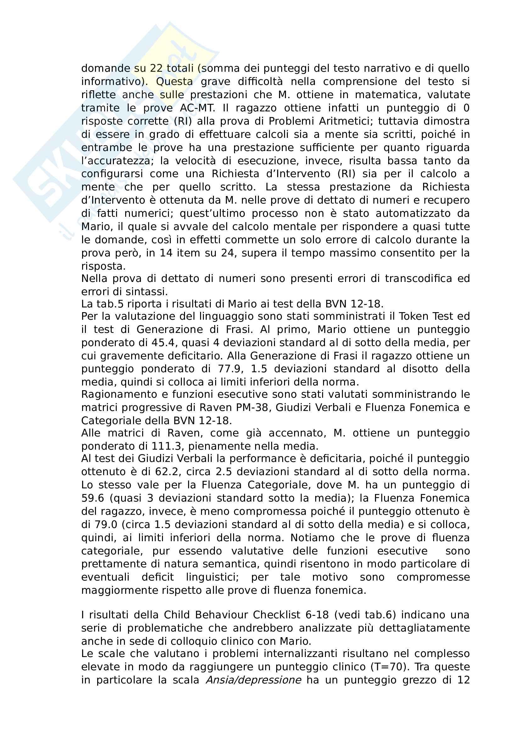 Modello di relazione neuropsicologica su caso clinico reale Pag. 6