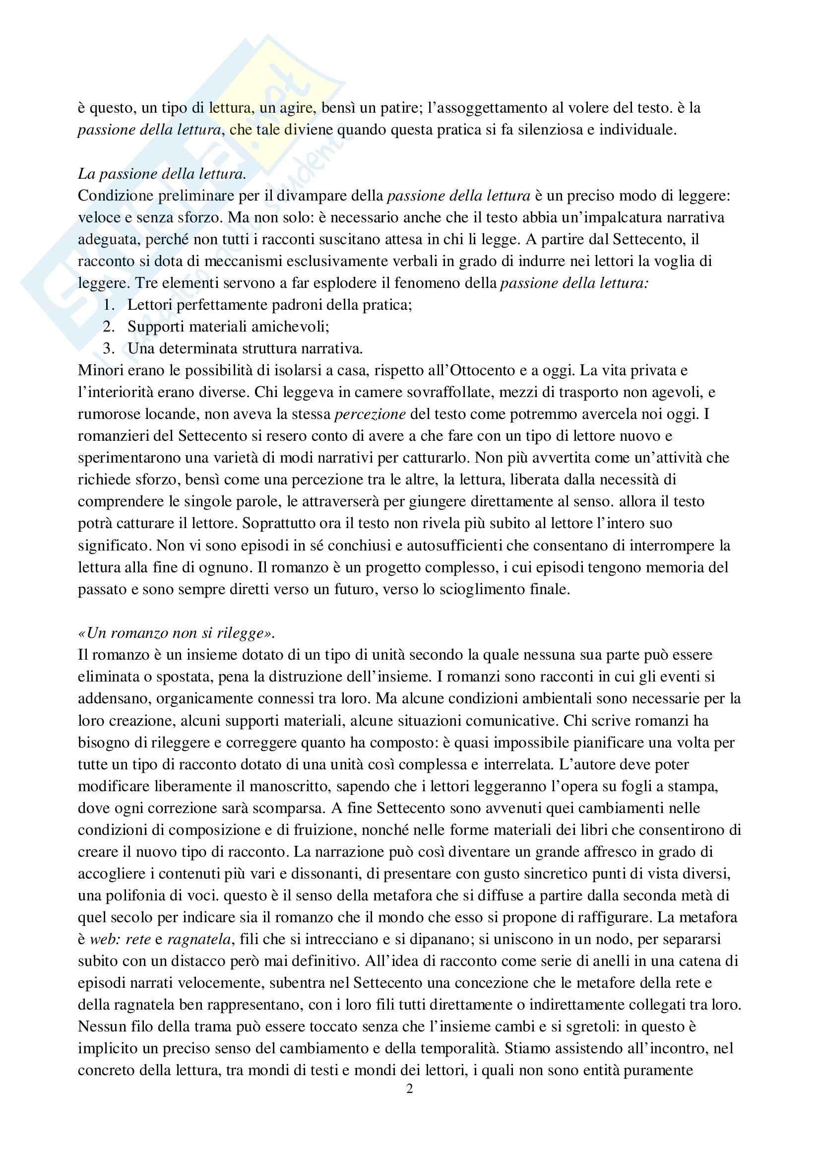 Riassunto esame Storia del libro, prof. Braida, libro consigliato L'invenzione del romanzo, dall'oralità alla lettura silenziosa, Di Loretelli Pag. 2