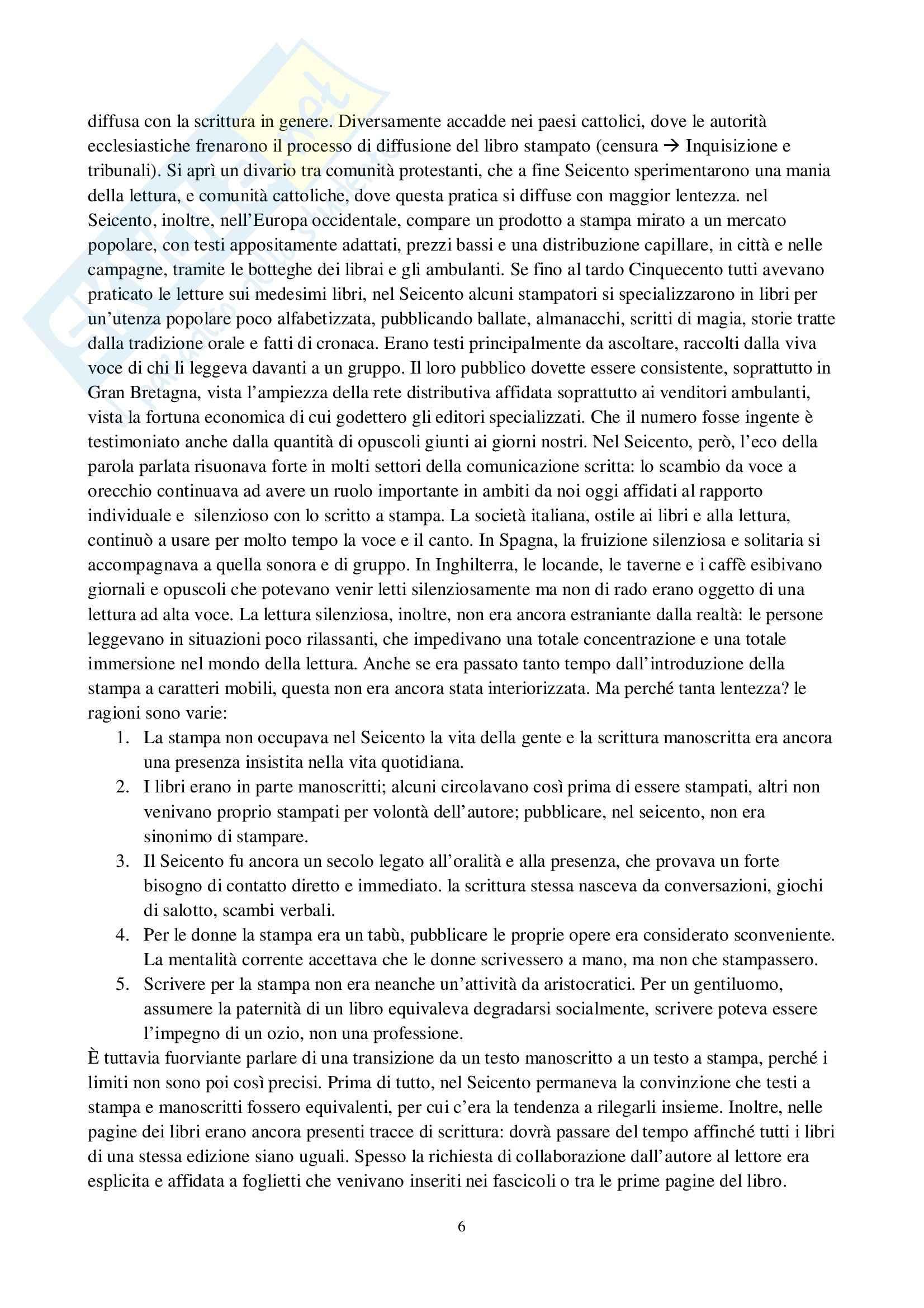 Riassunto esame Storia del libro, prof. Braida, libro consigliato L'invenzione del romanzo, dall'oralità alla lettura silenziosa, Di Loretelli Pag. 6