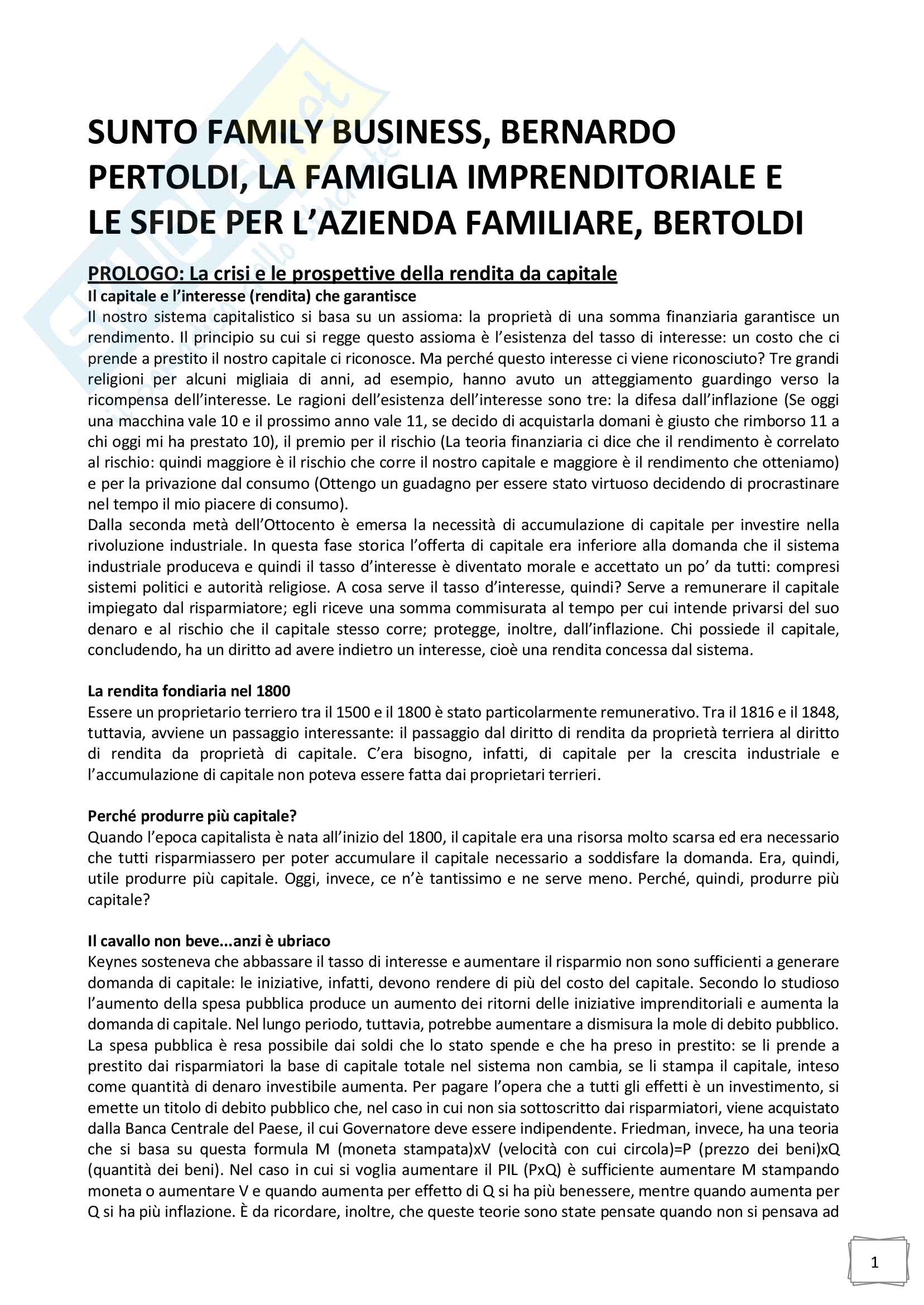 Riassunto esame Family business, prof. Bernardo Bertoldi, libro consigliato La famiglia imprenditoriale e le sfide per l azienda familiare, Bertoldi