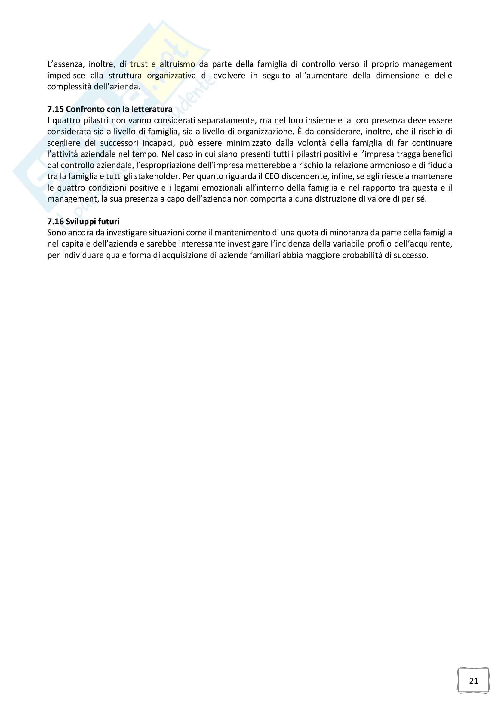 Riassunto esame Family business, prof. Bernardo Bertoldi, libro consigliato La famiglia imprenditoriale e le sfide per l azienda familiare, Bertoldi Pag. 21