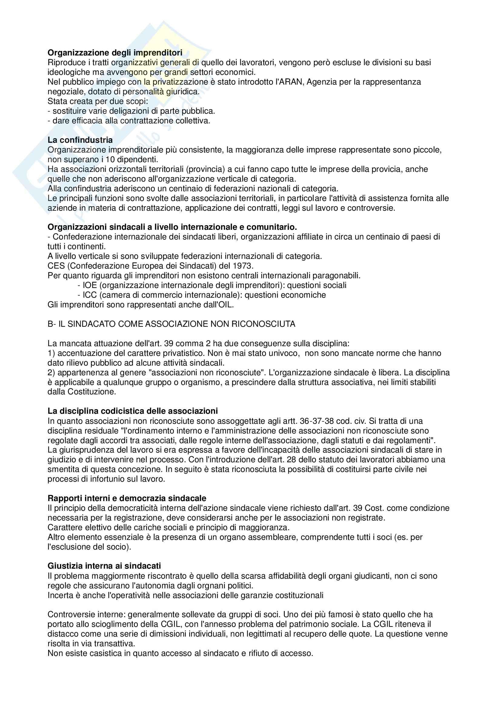 Riassunto esame Diritto sindacale e del lavoro, prof. Carinci, libro consigliato Diritto del lavoro: il diritto sindacale Pag. 6